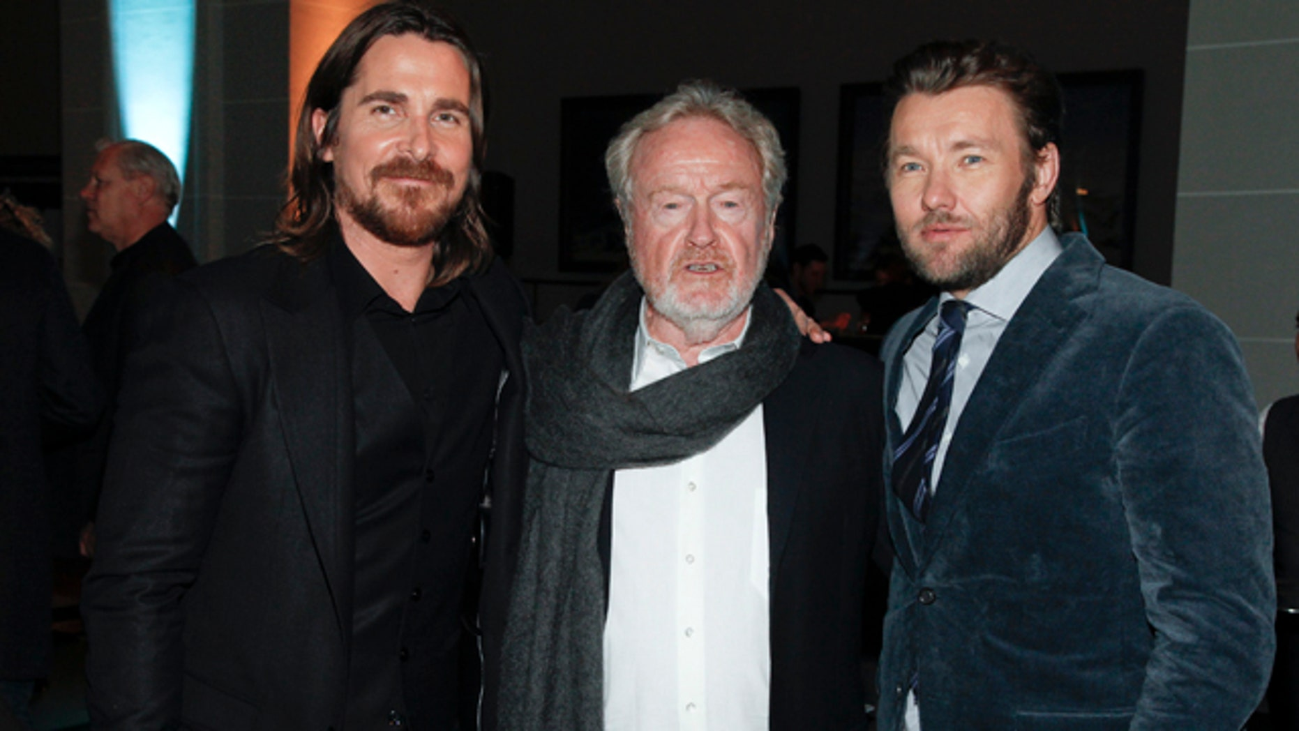 December 7, 2014: Christian Bale, Ridley Scott and Joel Edgerton attend an after party for the premiere of 'Exodus: Gods and Kings' at The Brooklyn Museum on Sunday, Dec. 7, 2014, in New York. (Photo Andy Kropa/Invision/AP)