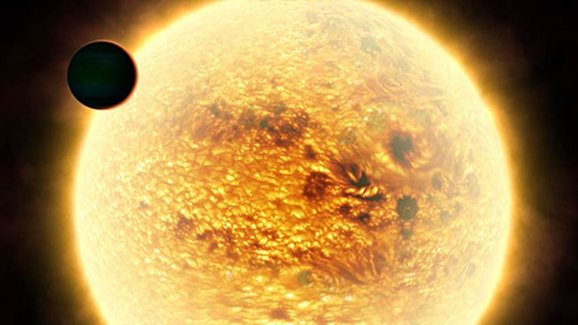 An artist's impression of the scorching extrasolar planet WASP-12b looming close to its parent star in the background. Credit: