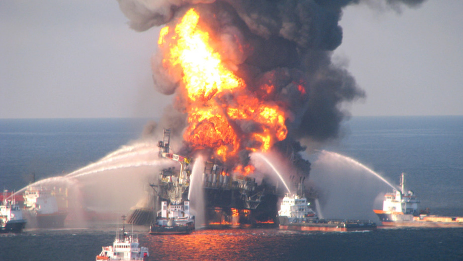 April 21, 2010: Fire boat response crews battle the blazing remnants of the offshore oil rig Deepwater Horizon, off Louisiana.