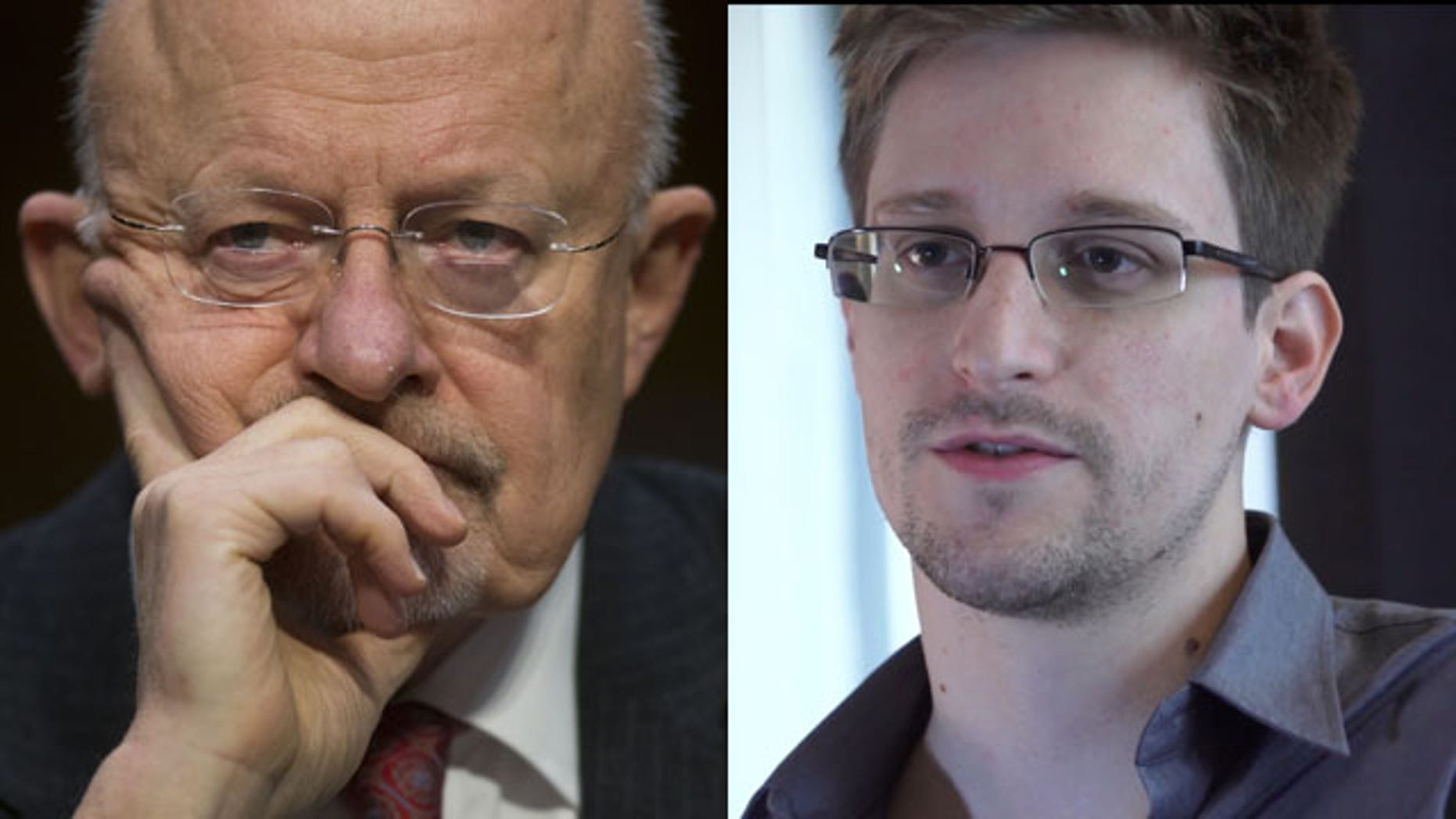 Director of National Intelligence James Clapper, left, and National Security Agency leaker Edward Snowden (AP)