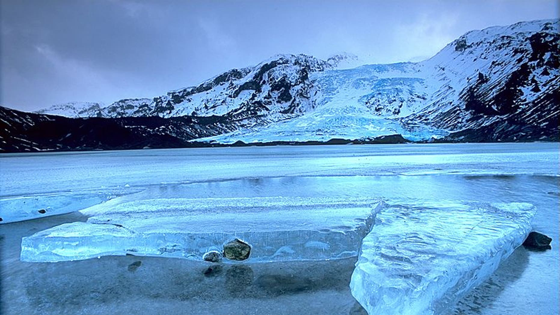 Eyjafjallajokull glacier in Iceland, prior to a volcanic eruption that has forced hundreds of people to leave the area.
