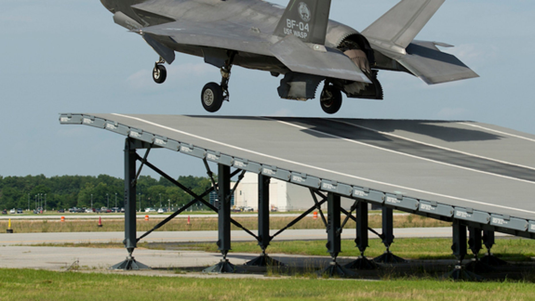 """An F-35B performs a successful """"ski jump"""" takeoff."""