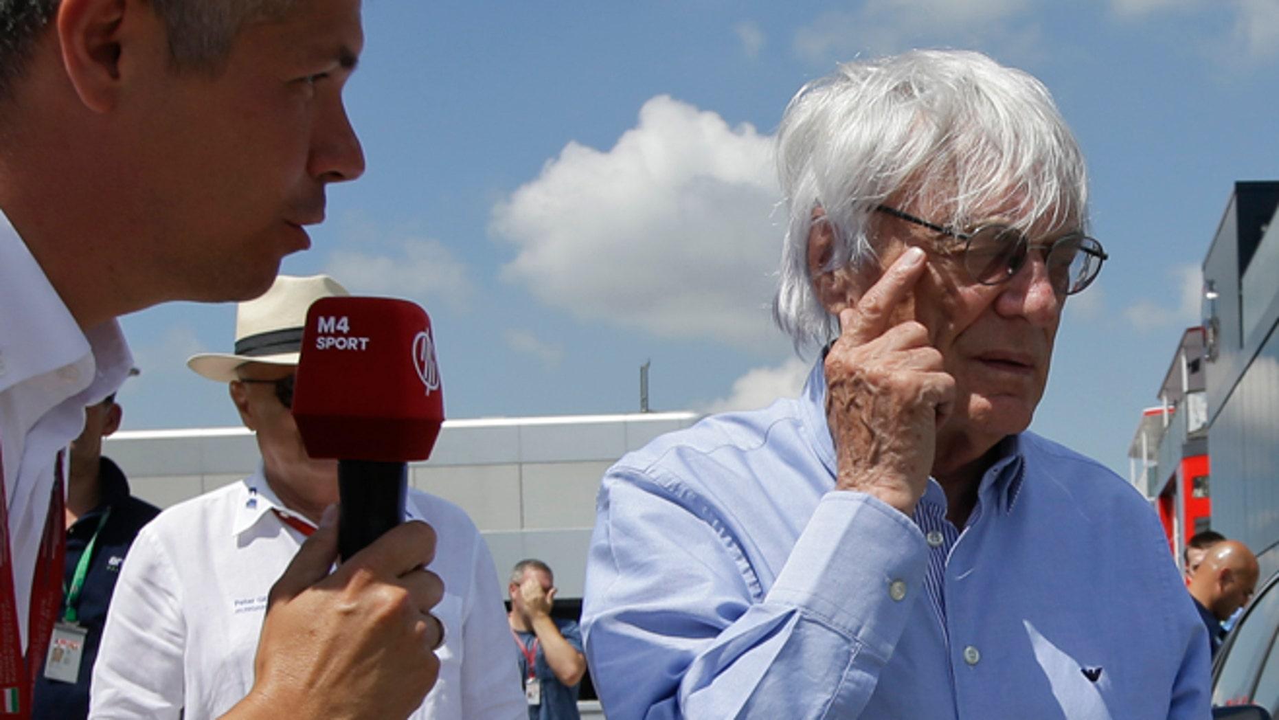 Formula One boss Bernie Ecclestone in Budapest, Hungary, Friday, July 22, 2016.