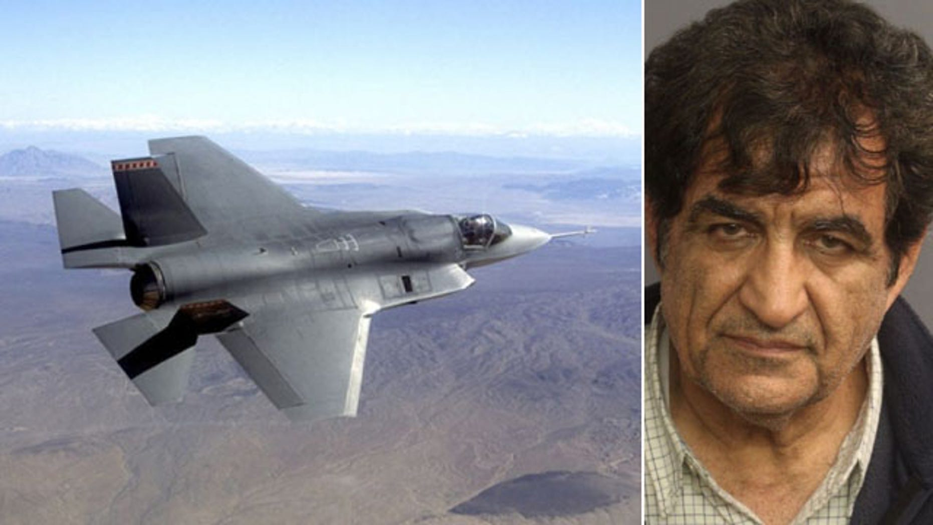 At left, a pre-production model of a F-35 Joint Strike Fighter. At right, a mug shot of Mozaffar Khazaee (AP/Northrup Grumman/Essex County Sheriff's Office)