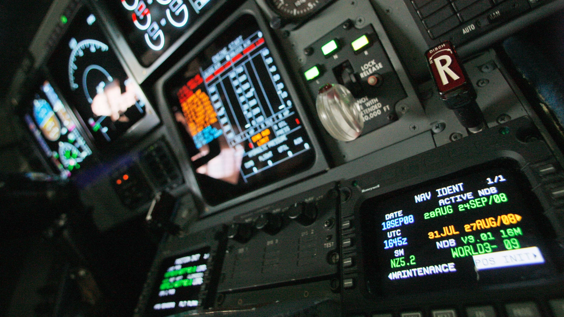 In this Sept. 18, 2008 file photo, navigation controls are seen in the cockpit of a FAA Gulfstream jet at a hangar at Washington's Reagan National Airport.