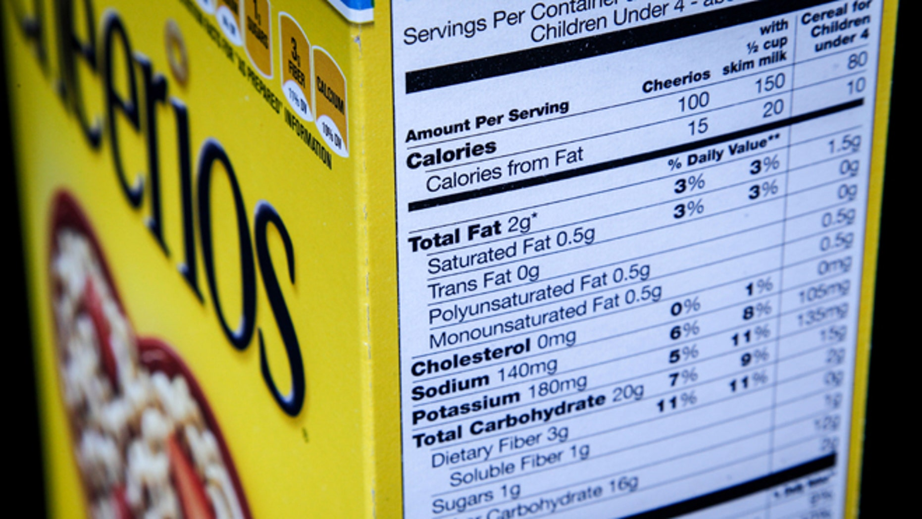 The nutrition facts label on the side of a cereal box is photographed in Washington, Thursday, Jan. 23, 2014. Nutrition labels on the back of food packages may soon become easier to read. The Food and Drug Administration (FDA) says knowledge about nutrition has evolved over the last 20 years, and the labels need to reflect that. (AP Photo/J. David Ake)