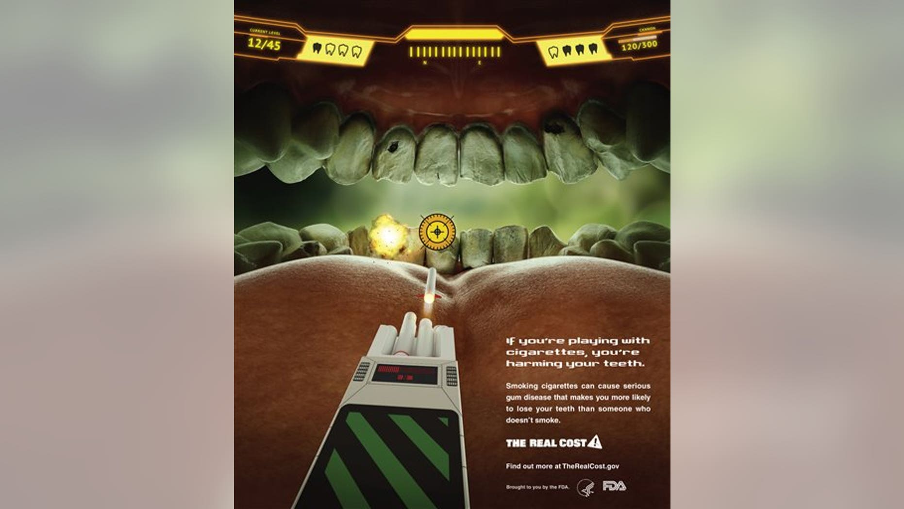 This undated image provided by the Food and Drug Administration shows the federal agency's new ad campaign featuring yellow teeth to show the costs associated with cigarette smoking. The federal agency said Tuesday, Feb. 4, 2014, it is launching a $115 million multimedia education campaign called The Real Cost thats aimed at stopping teenagers from smoking and encouraging them to quit. Advertisements will run in more than 200 markets throughout the U.S. for at least one year beginning Feb. 11.  (AP Photo/Food and Drug Administration)