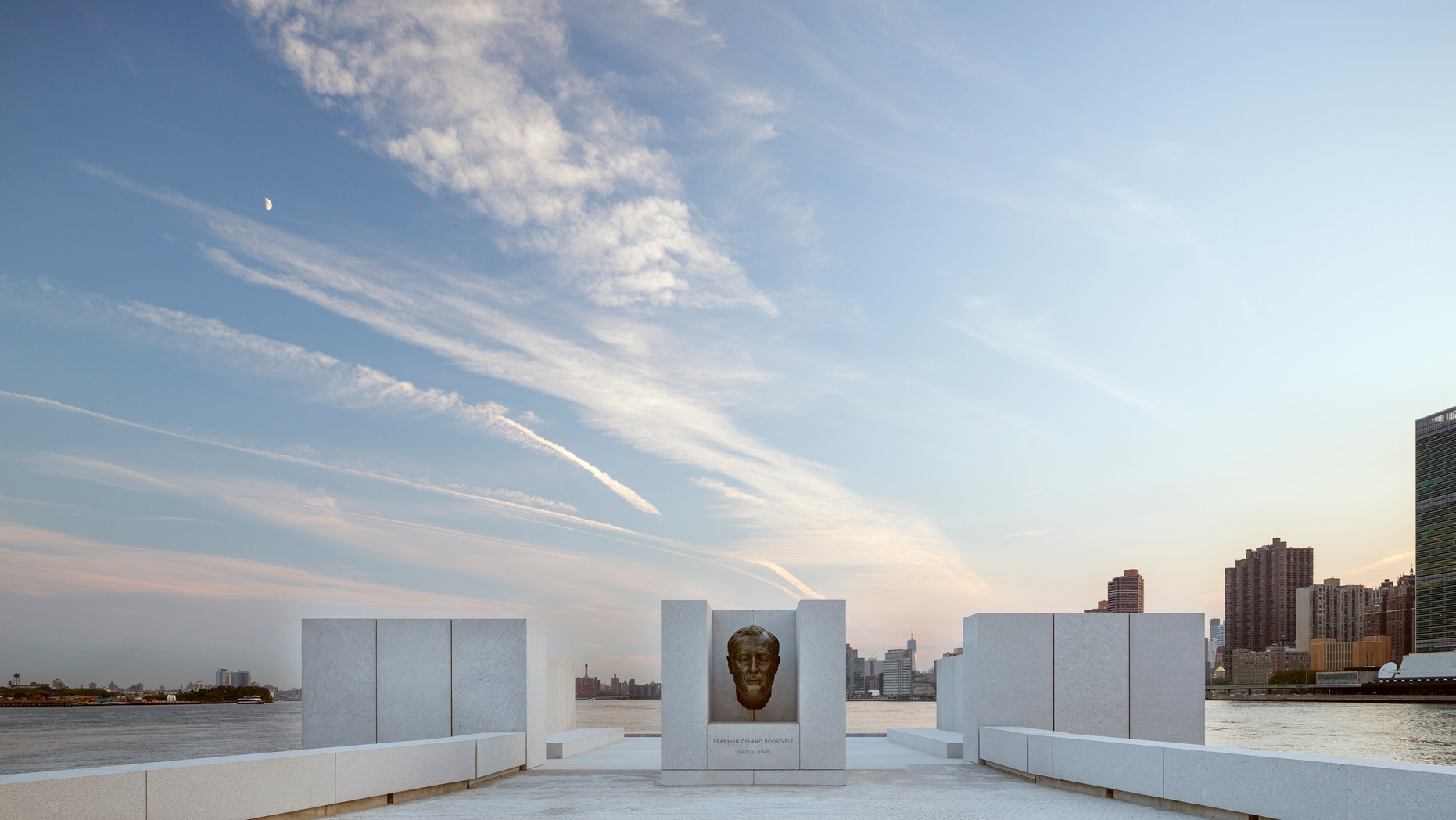 Aug. 24, 2012: The New York City memorial park, honoring President Franklin D. Roosevelt, has been completed 40 years after the original design was created