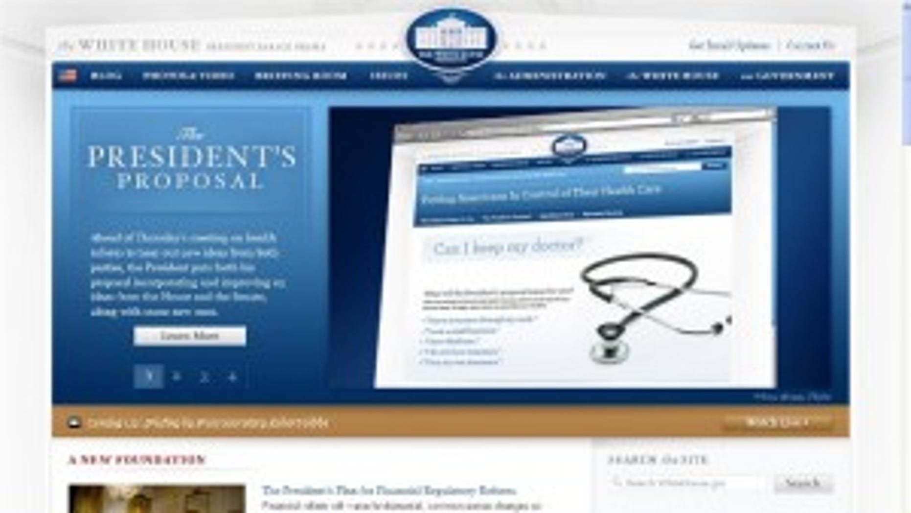 The White House website featuring President Obama's health care reform proposal/whitehouse.gov