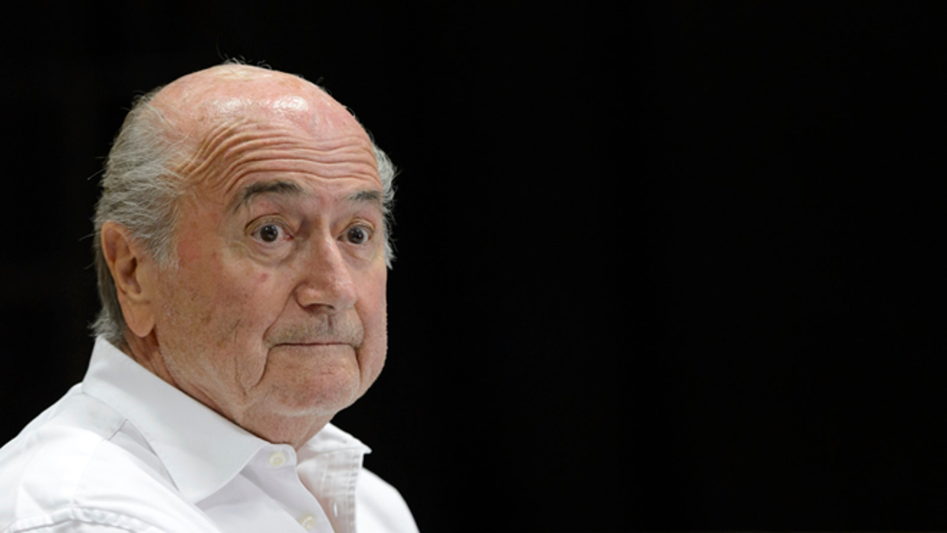 FILE - In this Aug. 22, 2015 file photo then FIFA President Sepp Blatter speaks during a news conference in Ulrichen, Switzerland. The FIFA ethics committee said Friday, Sept. 9, 2016 it opened formal proceedings against Blatter, former secretary general Jerome Valcke and former finance director Markus Kattner over million-dollar payments in their contracts â some of which were approved by other senior FIFA officials. (Laurent Gillieron/Keystone via AP, file)