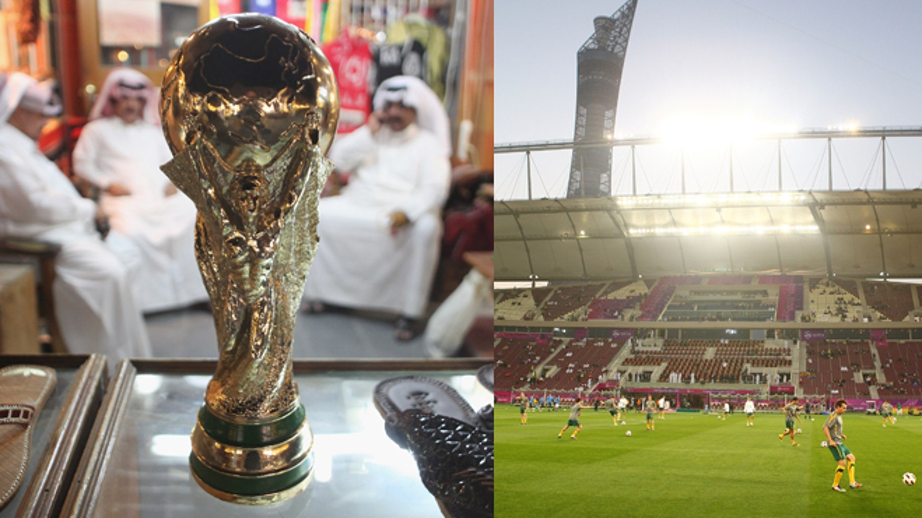 Left: Arab men sit at a shoemaker's stall with a replica of the FIFA World Cup trophy in Doha, Qatar. (Photo by Sean Gallup/Getty Images) Right: Khalifa International Stadium in Doha, Qatar. The average daily temperatures for late June and early July are well over 100 degrees. (Photo by Robert Cianflone/Getty Images)