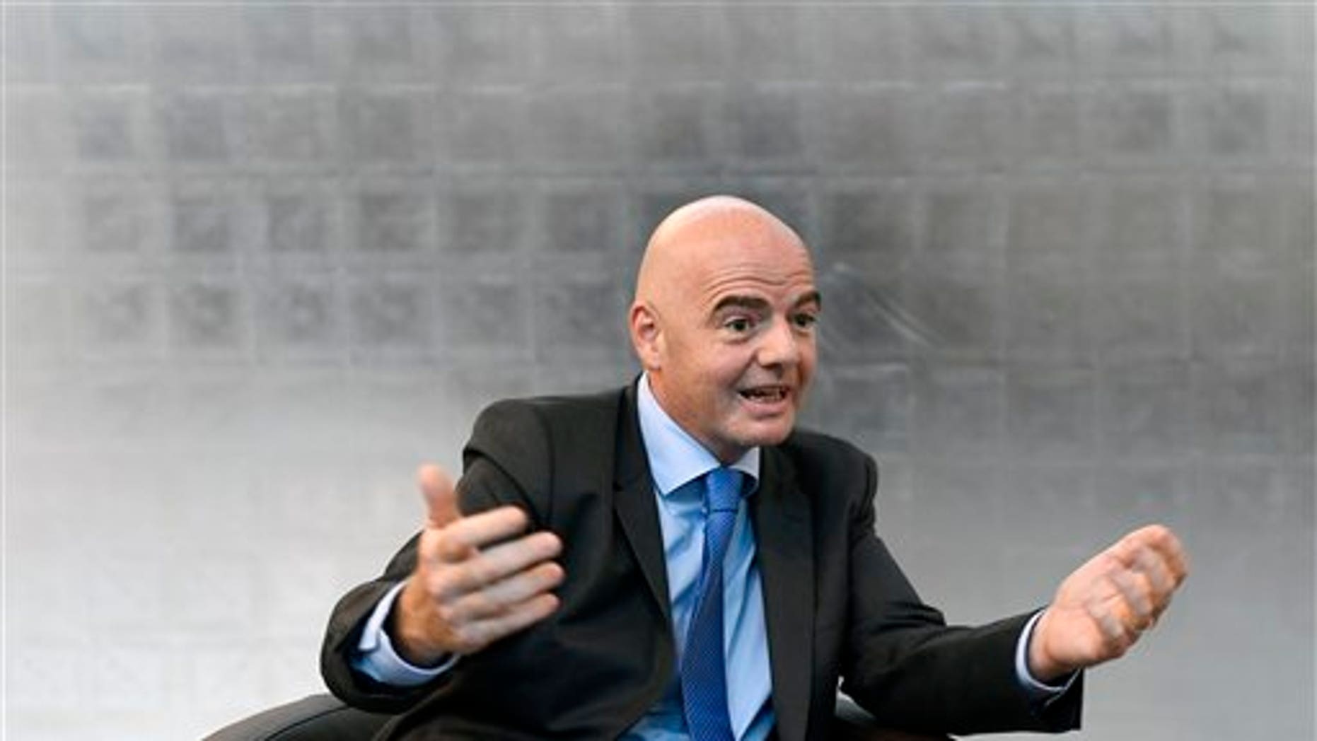 """FIFA President Gianni Infantino speaks during an interview on the occasion of the """"World Summit on Ethics and Leadership in Sports"""" at the Home of FIFA in Zurich. Switzerland, Friday, Sept. 16,  2016. (Walter Bieri/Keystone via AP)"""