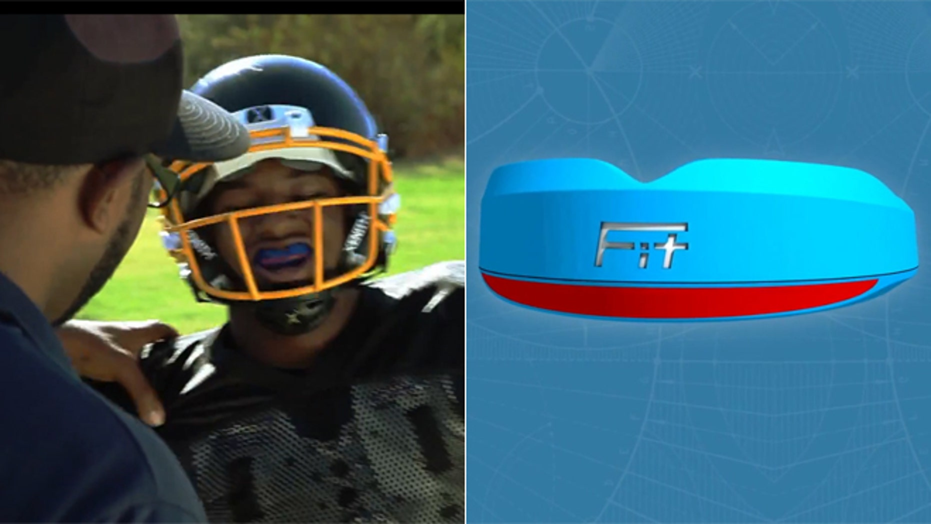 Left, an unidentified athlete outfitted with a FITGuard reports to his coach after a head impact, with the LED lights flashing red. Pictured right is a prototype photo of the FITGuard when it flashes red, signaling a high impact hit.