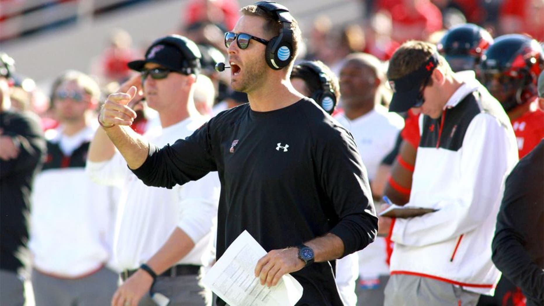 Nov 15, 2014; Lubbock, TX, USA; Texas Tech Red Raiders head coach Kliff Kingsbury yells during the game with the Oklahoma Sooners at Jones AT&T Stadium. Mandatory Credit: Michael C. Johnson-USA TODAY Sports
