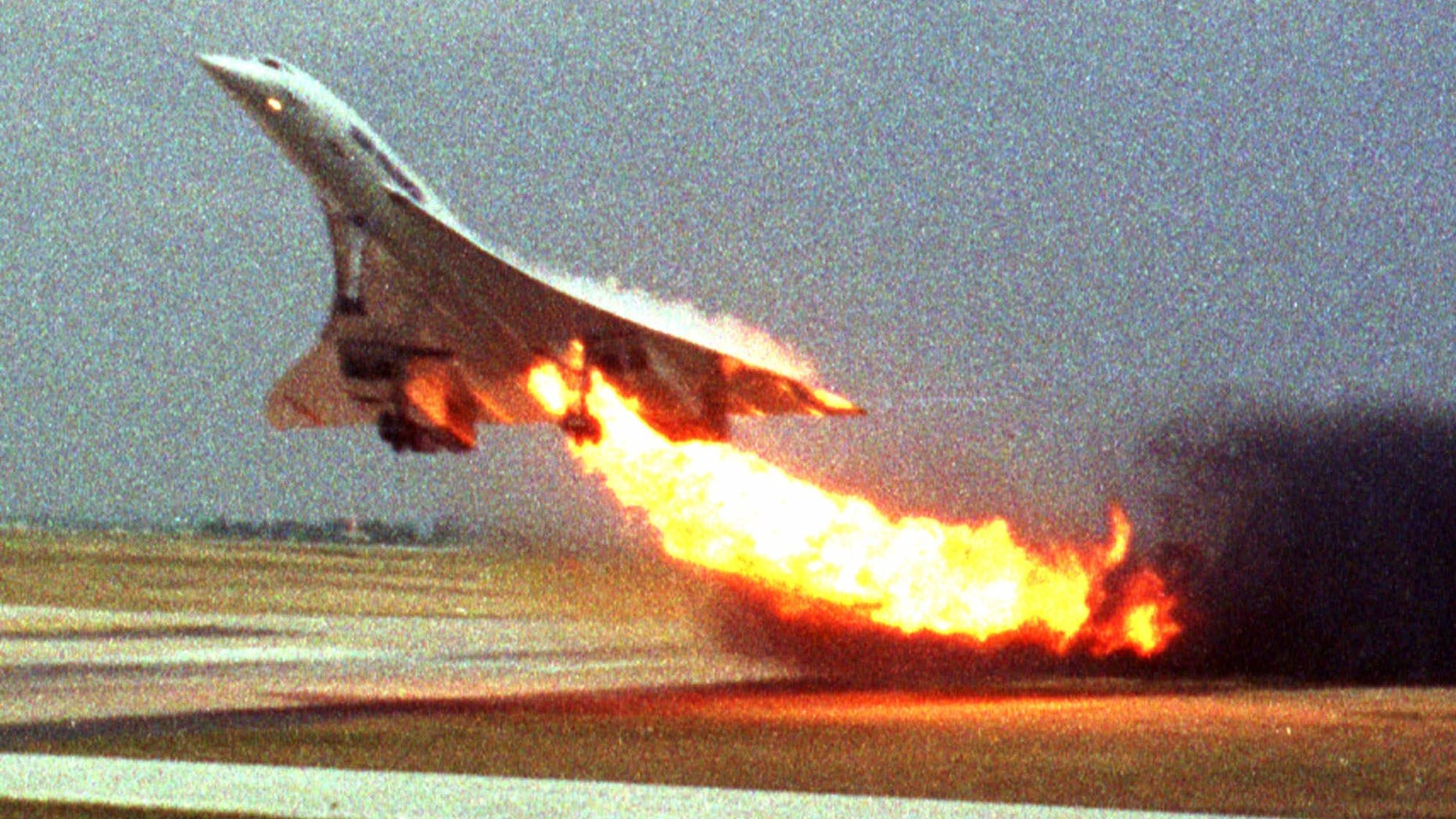 July 25, 2000: Air France Concorde flight 4590 takes off with fire trailing from its engine on the left wing from Charles de Gaulle airport in Paris. The plane crashed shortly after take-off, killing all the 109 people aboard and four others on the ground.