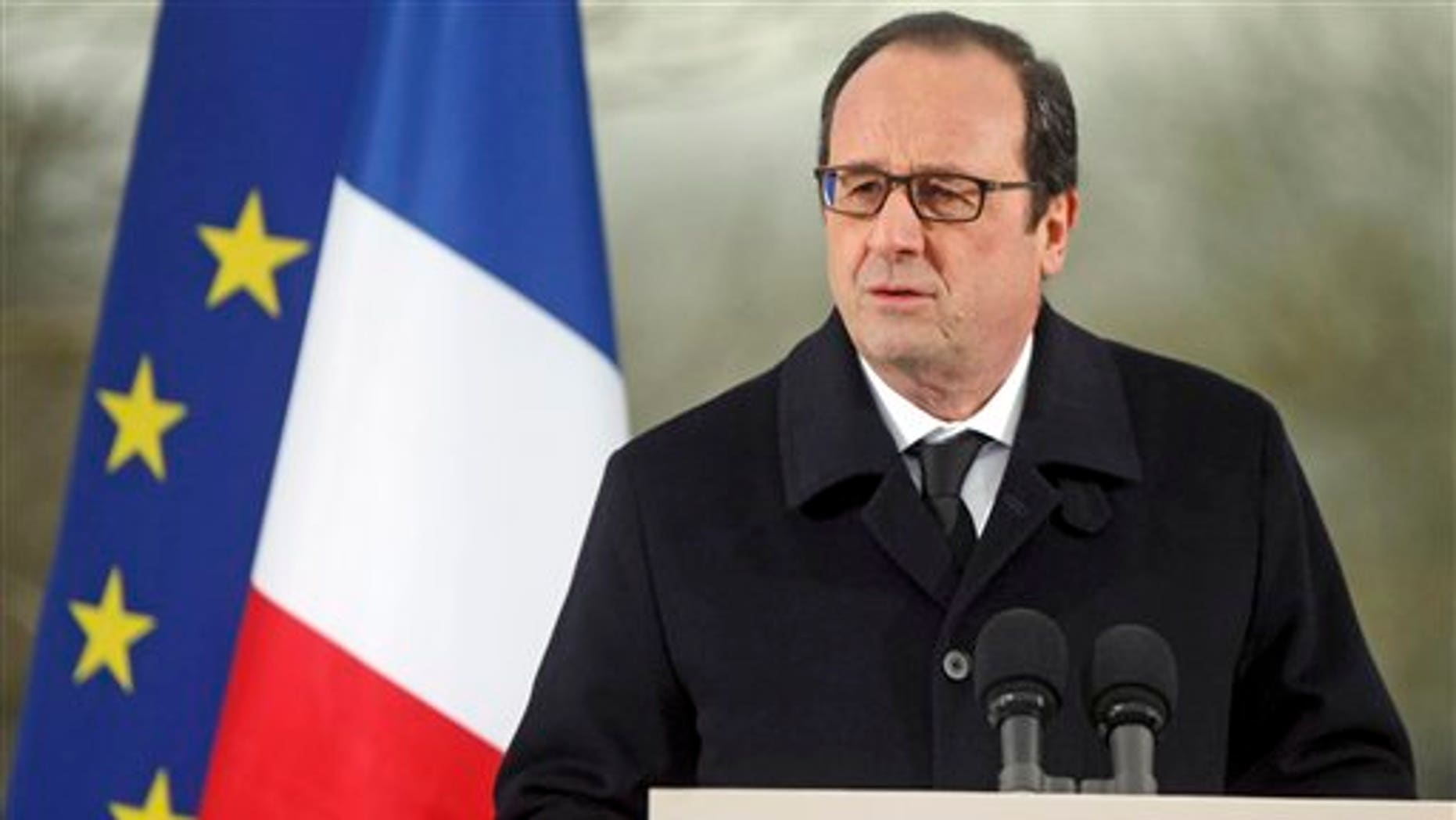 French President Francois Hollande delivers a speech during a ceremony at the Sarre-Union Jewish cemetery, eastern France, Tuesday, Feb. 17, 2015.  (AP Photo/Christian Lutz)