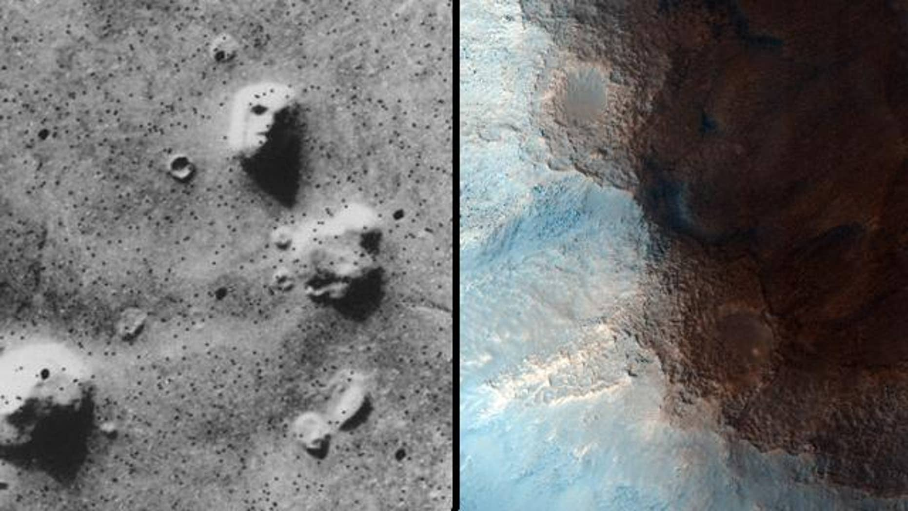 At left, the famous 1976 image from Viking that seems to show a face. On the right, a new image of the same rock surface. Taken from much closer and in higher resolution, the features completely disappear.