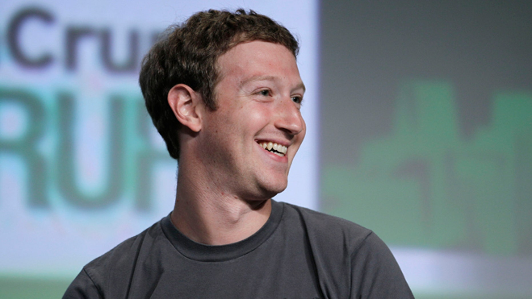 "Sept. 11, 2012: Facebook CEO Mark Zuckerberg smiles during a ""fireside chat"" at a conference organized by technology blog TechCrunch in San Francisco."
