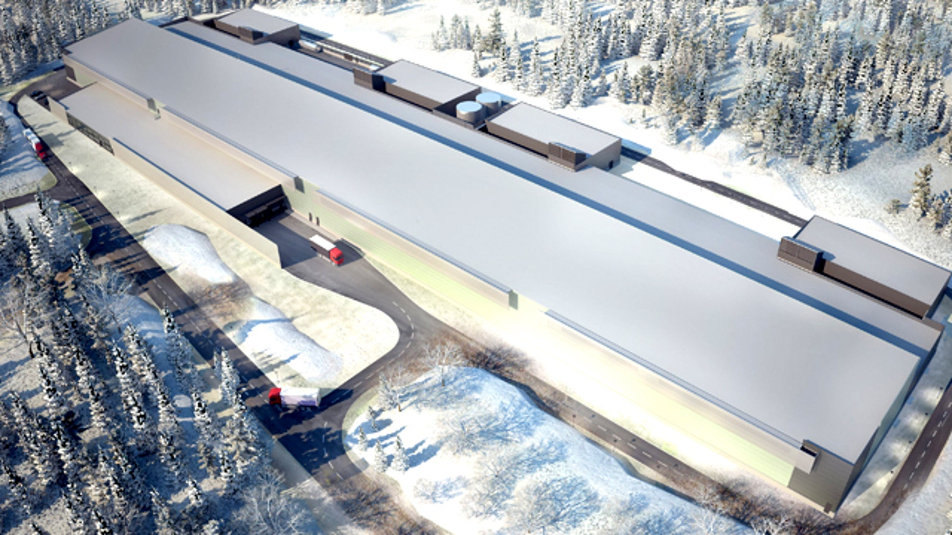 Oct. 27, 2011: An artist's rendering of Facebook's new server farm on the edge of the Arctic Circle, the company's first outside the U.S.