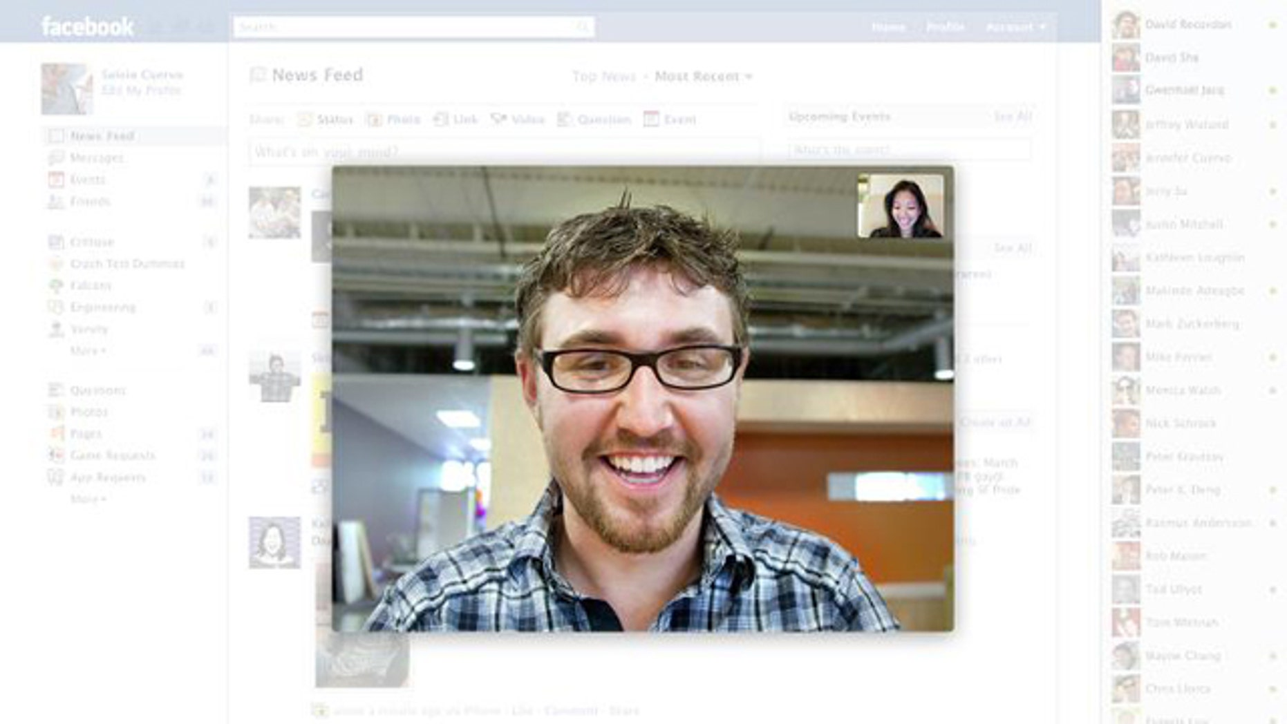 Facebook on Wednesday unveiled face to face video chat, a new feature powered by Internet telephony giant Skype.
