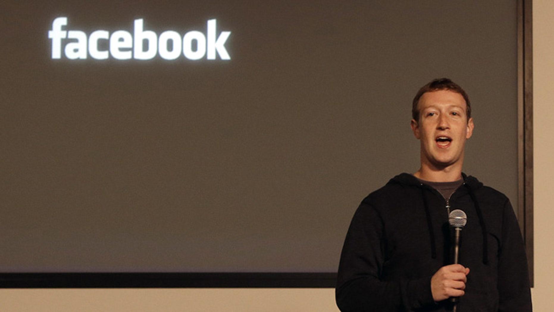 Jan. 15, 2013: Facebook CEO Mark Zuckerberg speaks at Facebook headquarters in Menlo Park, Calif.