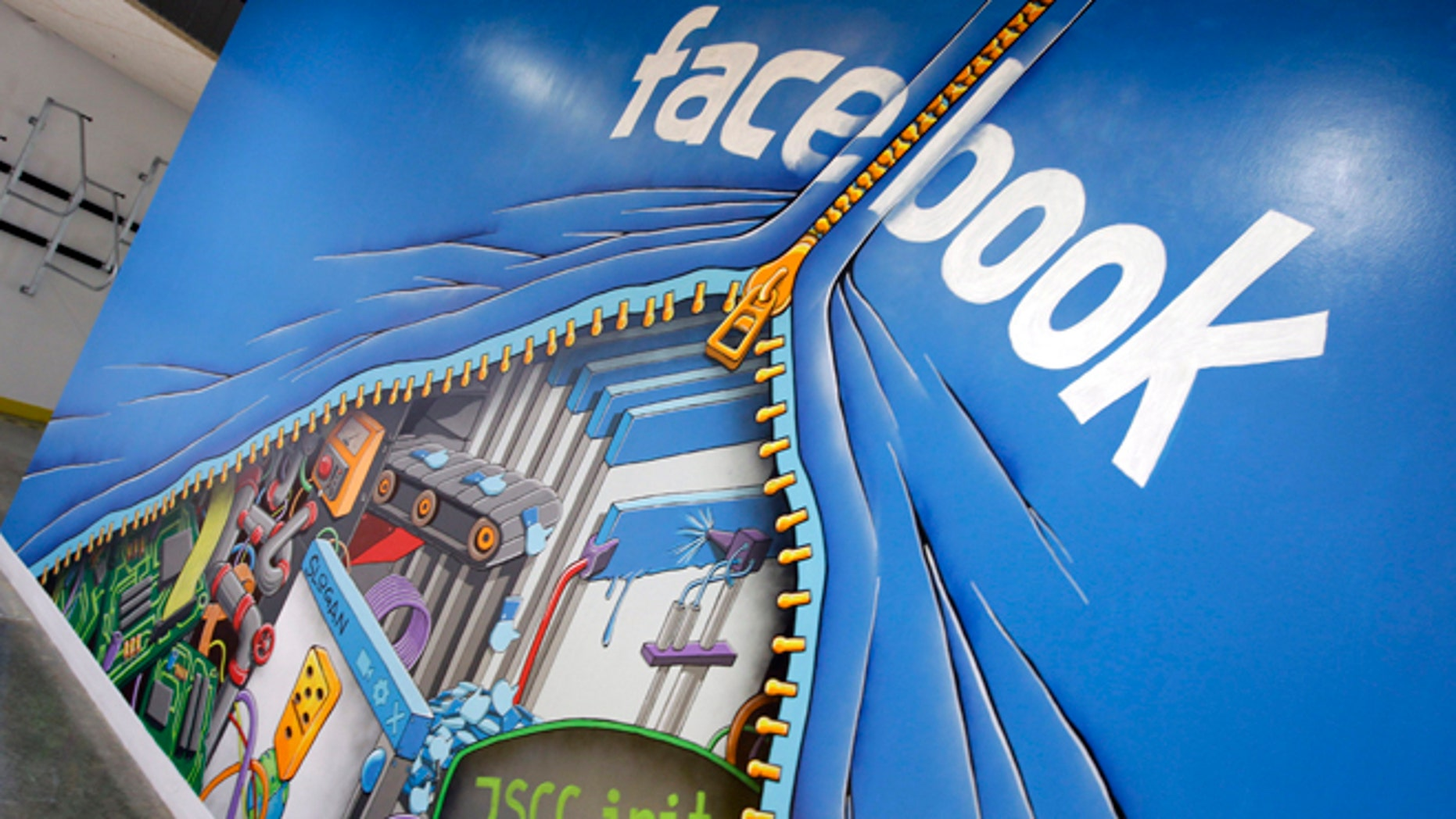 Feb. 8, 2012: This photo shows a mural at Facebook headquarters in Menlo Park, Calif.