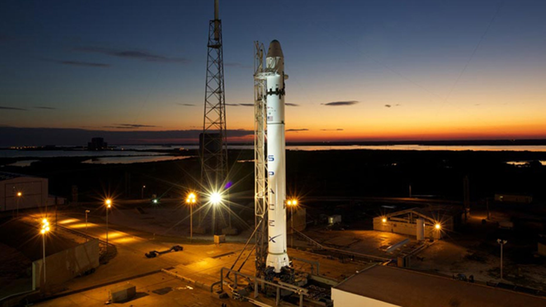 SpaceX's debut Falcon 9 rocket stands atop its launch pad at Space Launch Complex 40 at the Cape Canaveral Air Force Station in Florida in late Feb. 2010 for final tests ahead of its maiden test flight. First launch set for June 2010.
