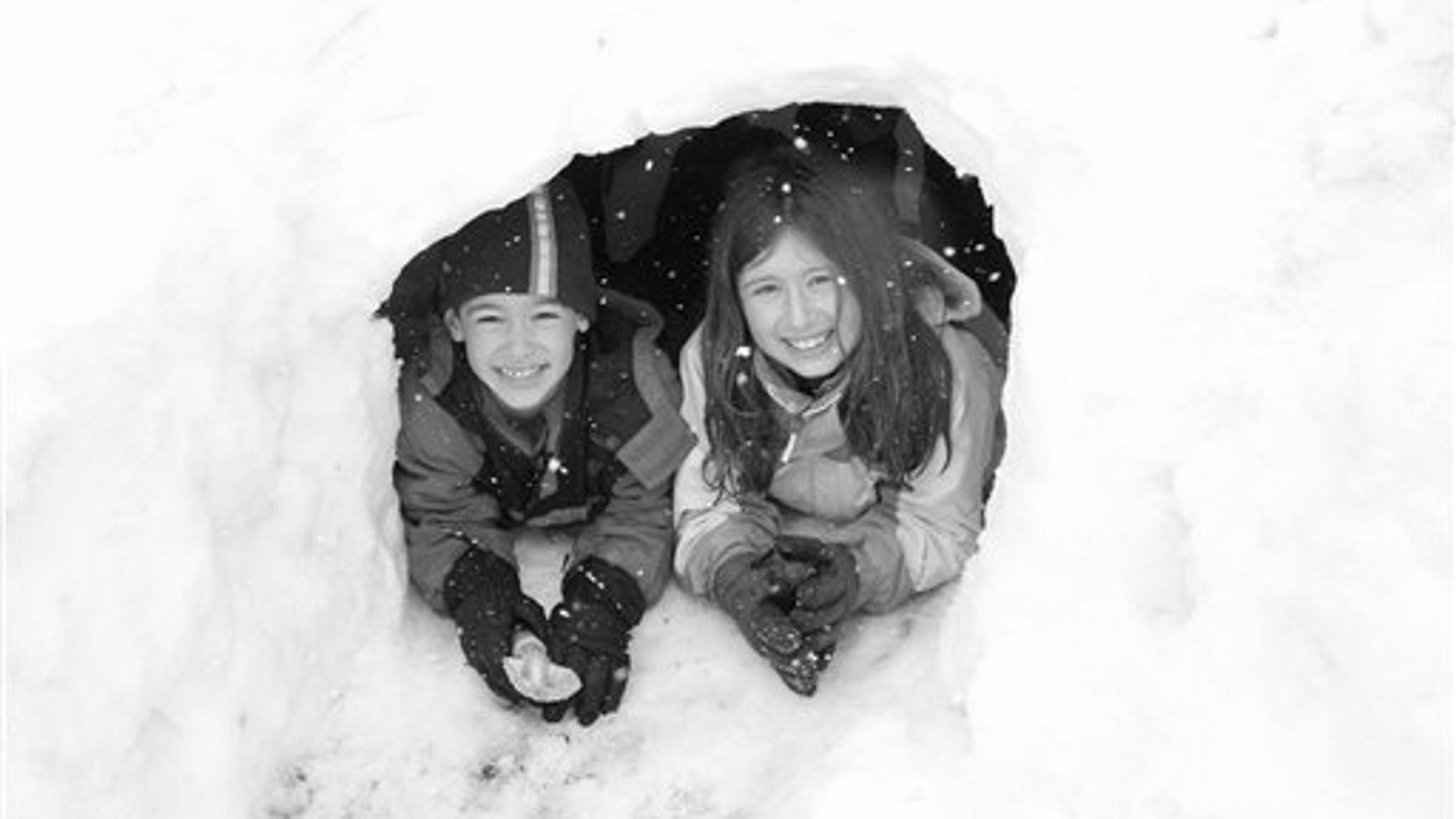 Feb. 26, 2010: Friedlander family photo shows Gregory and Molly Friedlander play in the snow at their home in Cross River, N.Y.