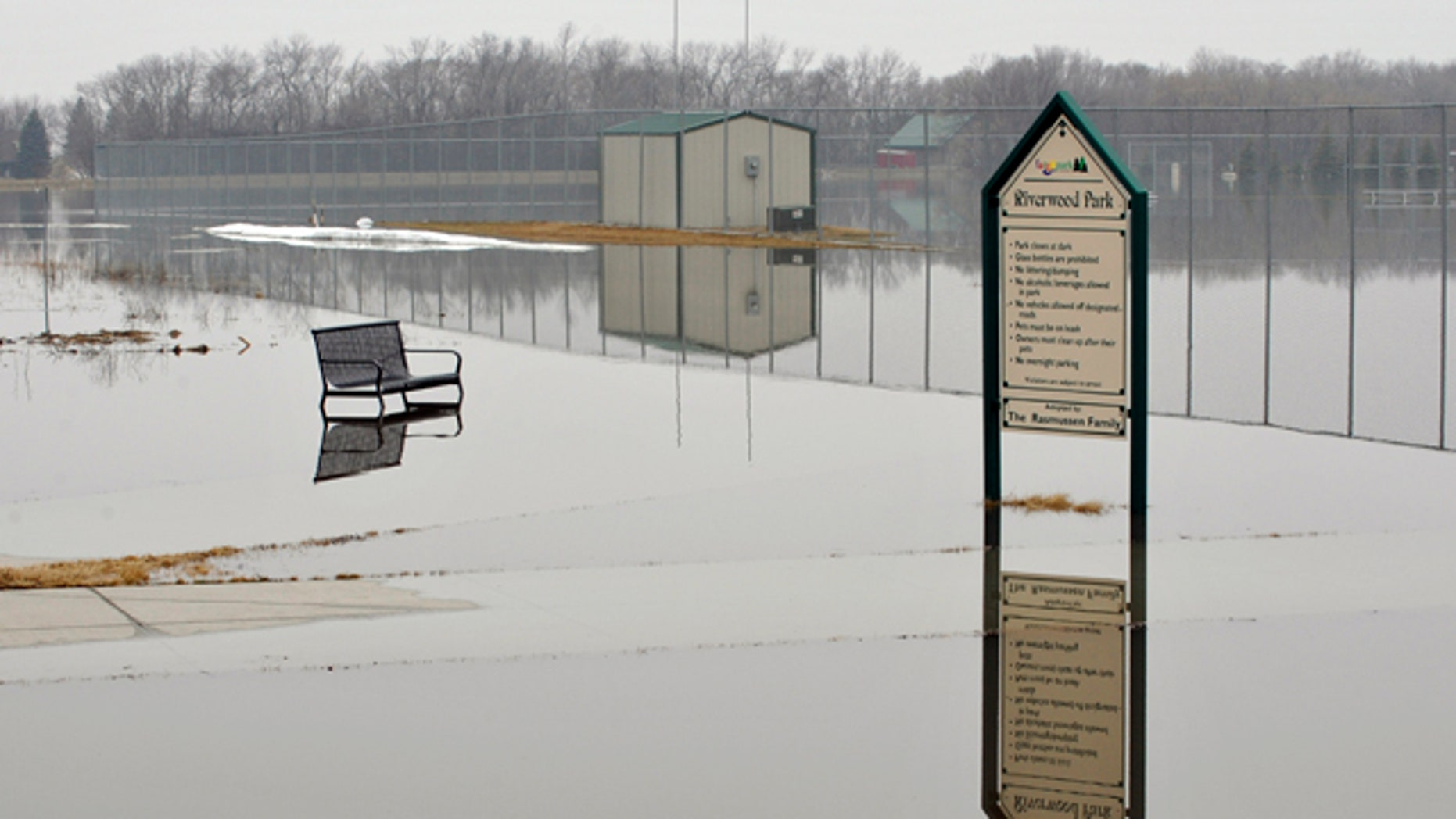 Riverwood Park in Fargo, N.D. remains under water from the floodwaters of the Red River