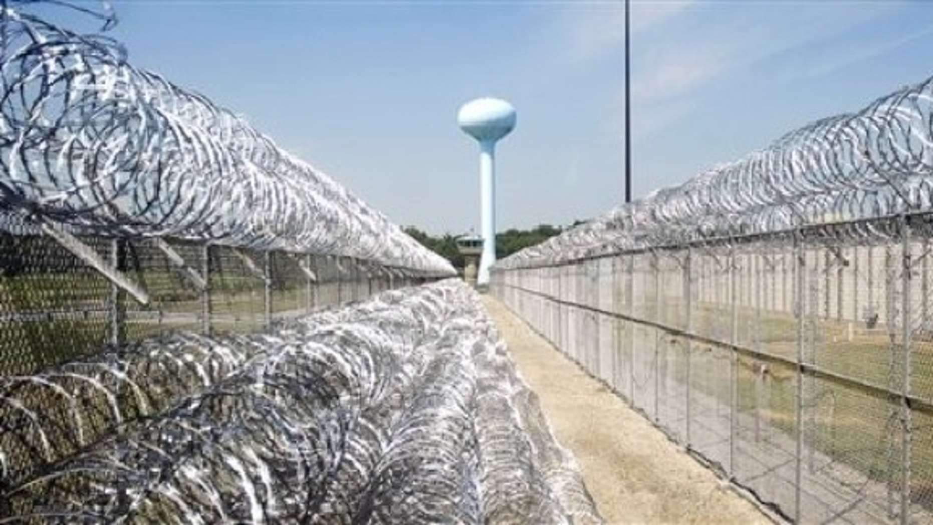This Aug. 19, 2008, photo shows the inner and outer security fence surrounding the medium security federal prison in Marion, Ill. Once the nation's securest prison, the federal lockup near this southern Illinois town has housed everyone from spies to a Columbian druglord to dapper mob boss John Gotti. (AP Photo/The Southern, Steve Jahnke)