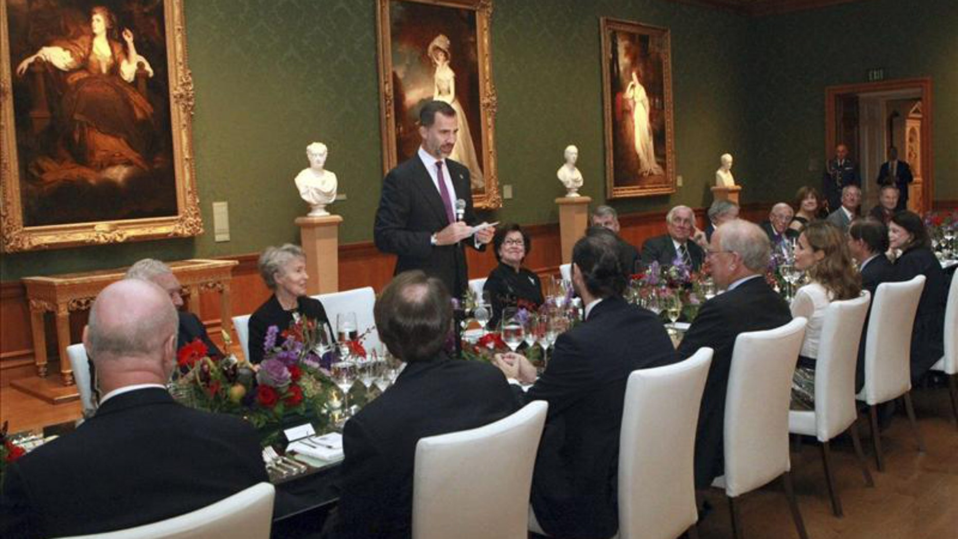 Crown Prince Felipe giving an address at a dinner in California's Huntington Library, the final event on the official agenda of the prince and his wife, Princess Letizia, before they departed for Florida and the Miami Book Fair International. EFE/Photo provided by the Spanish Royal Palace