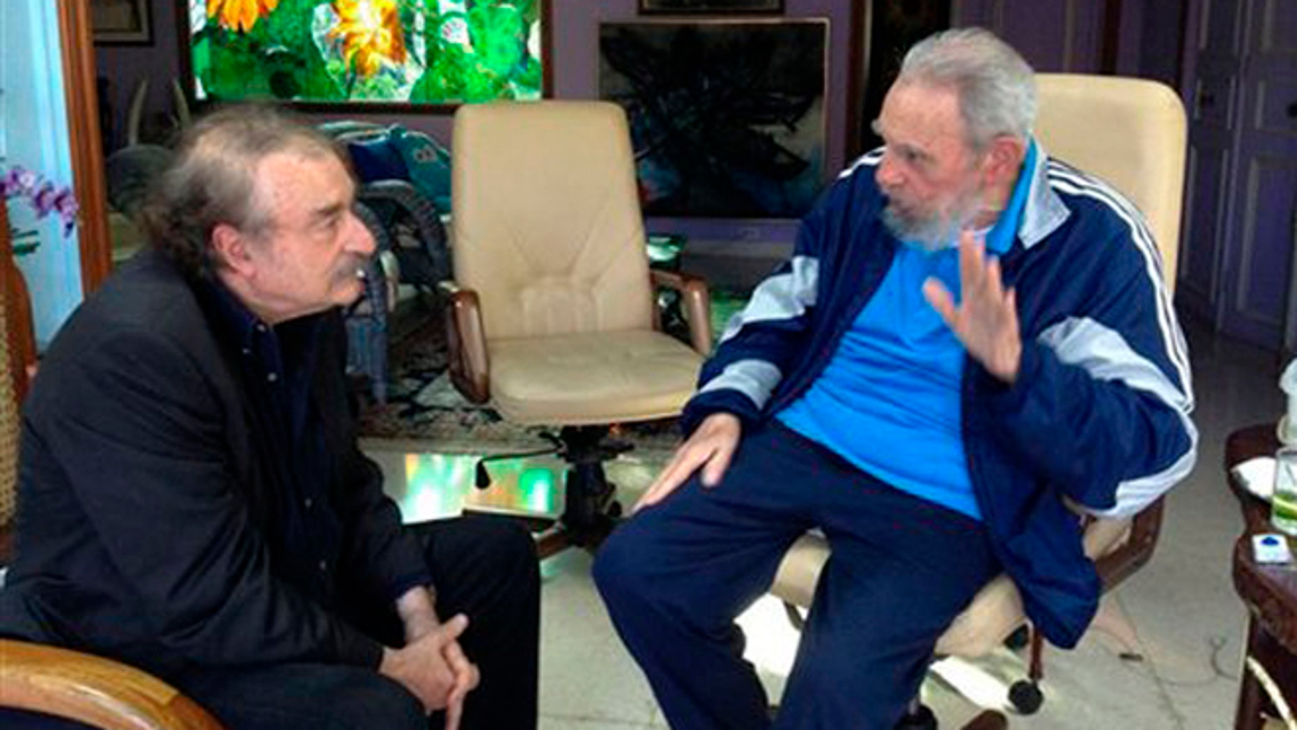 Fidel Castro and Spanish journalist Ignacio Ramonet on Dec. 13, 2013, in Havana, Cuba.