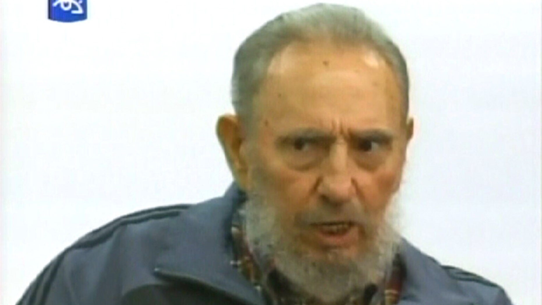 "July 12, 2010: TV image provided by Cubavision shows Cuba's former president Fidel Castro speaking during an interview on the ""Mesa Redonda,"" or ""Round Table,"" a daily Cuban talk show on current events."