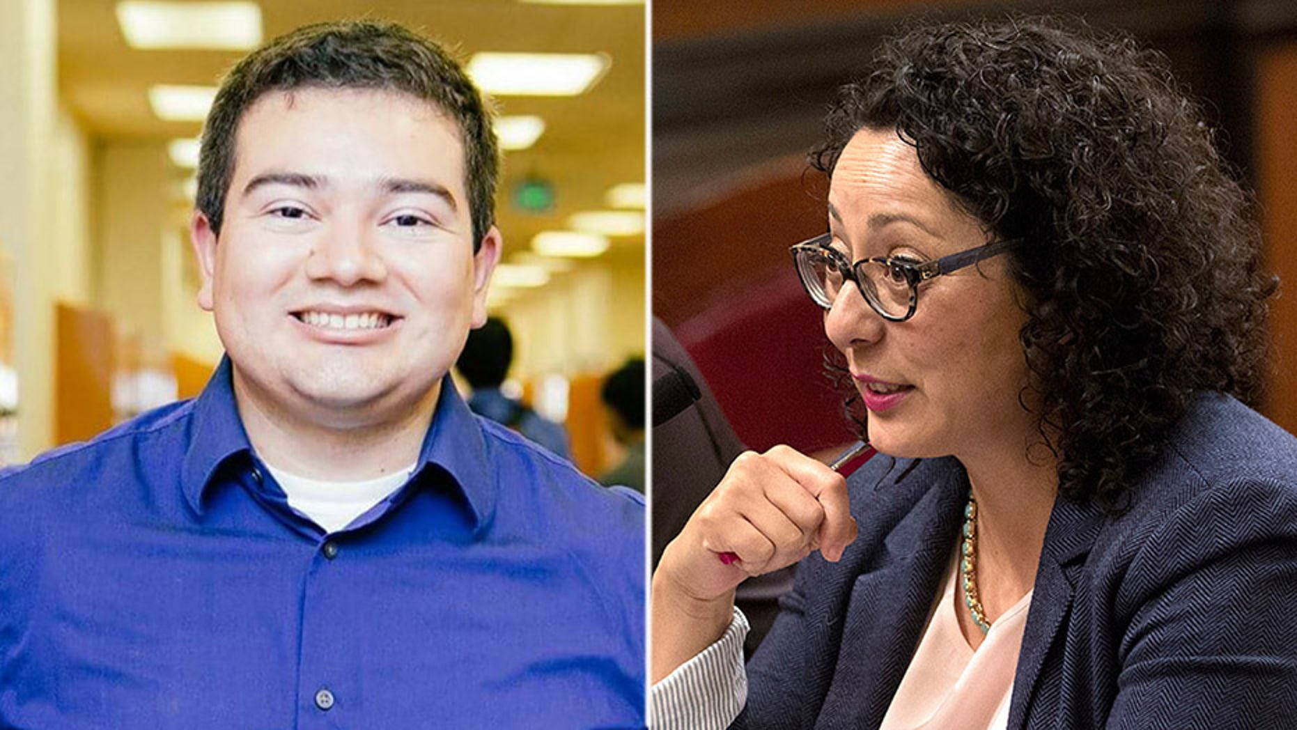 California Assemblywoman Cristina Garcia (right), who was once at the forefront of the state's #MeToo movement, was cleared Thursday of allegations that she groped Daniel Fierro (left), a male staff member, in 2014. (Facebook / The Associated Press)