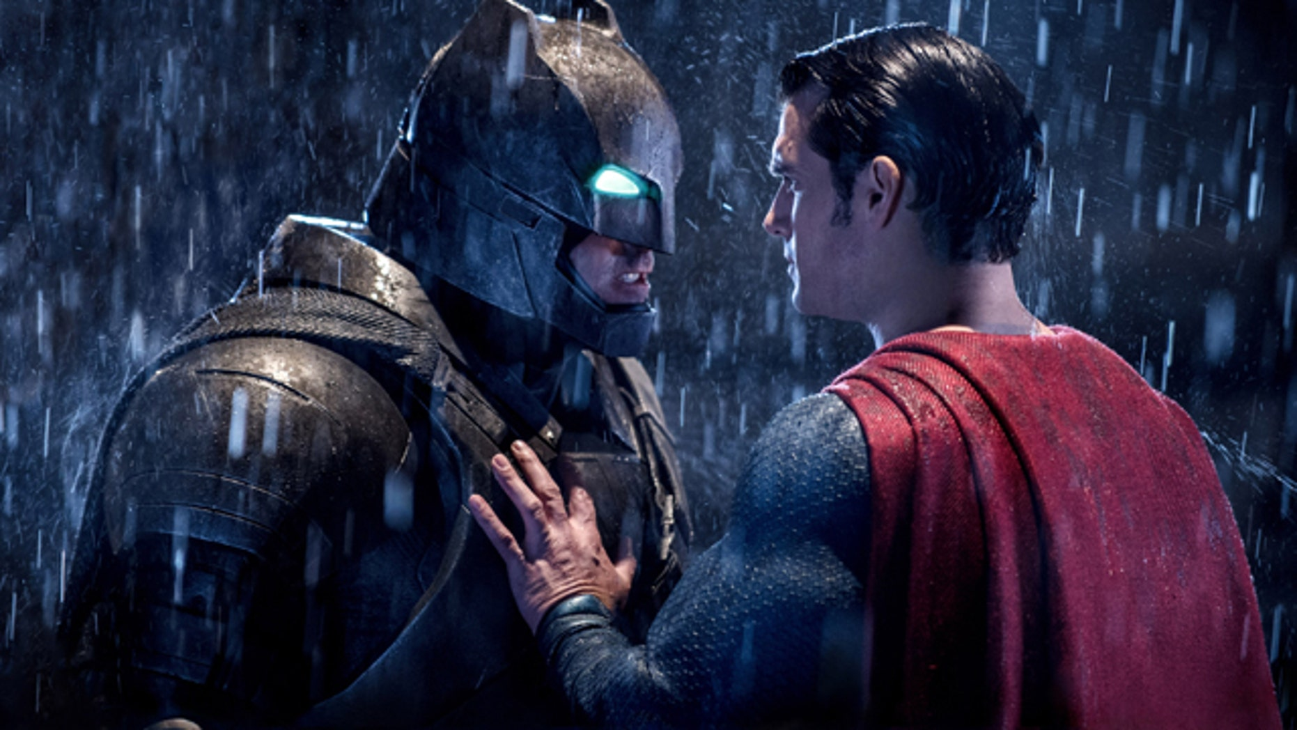 This image released by Warner Bros. Pictures shows Ben Affleck, left, and Henry Cavill in a scene from, Batman v Superman: Dawn of Justice.'  (Clay Enos/Warner Bros. Pictures via AP)
