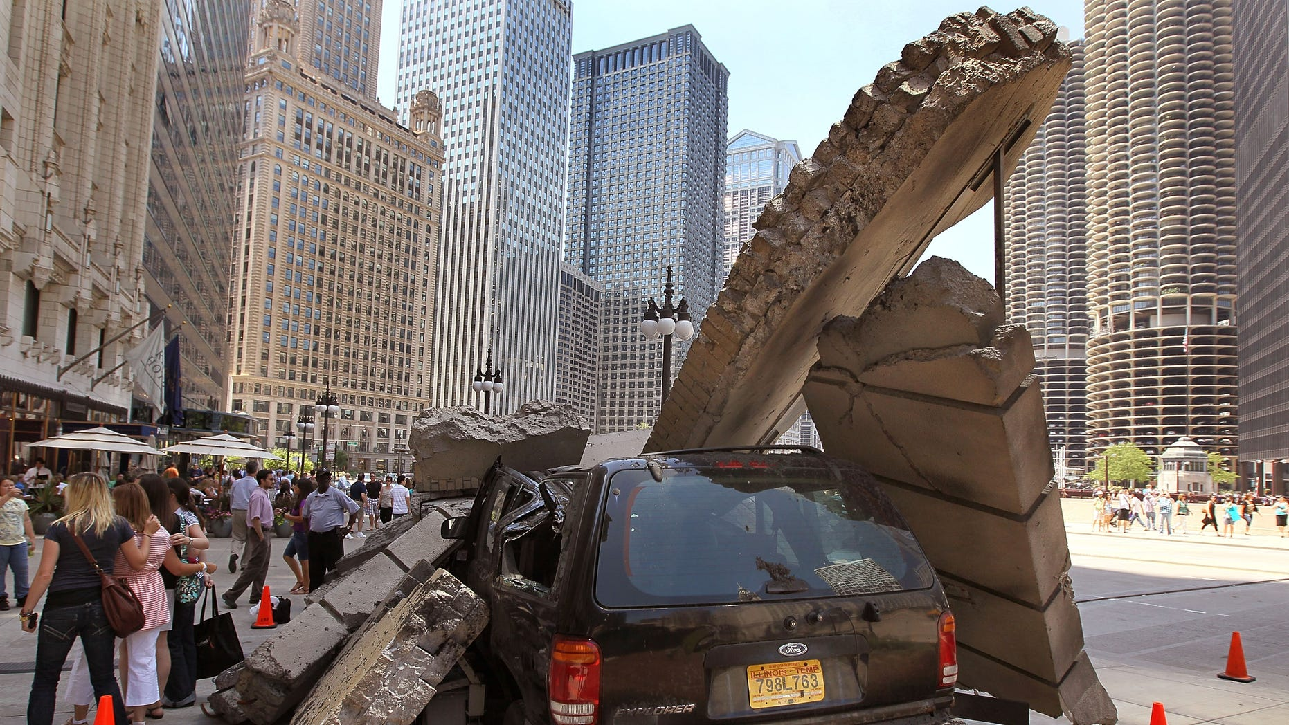 CHICAGO - JULY 16:  A movie prop sits along Wacker Drive during the filming of the movie Transformers 3 in Chicago, Illinois.