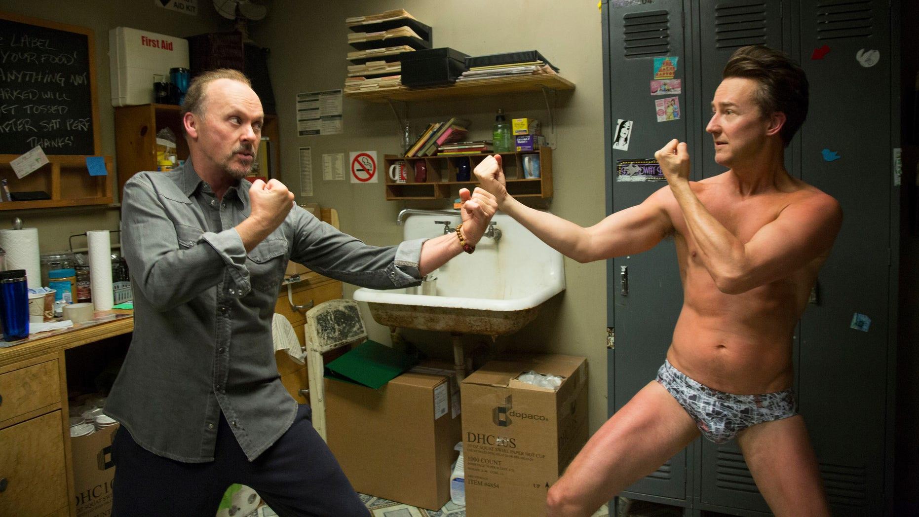 "Michael Keaton and Edward Norton in a scene from ""Birdman."""