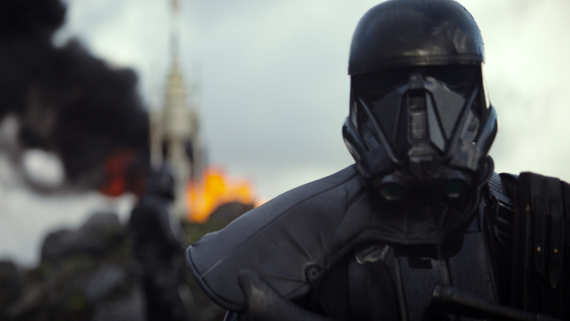 """This image released by Disney shows a scene from the upcoming film, """"Rogue One: A Star Wars Story."""" The world got a glimpse of Rogue One: A Star Wars Story in teaser trailer that debuted Thursday, April 7, 2016 on Good Morning America that introduces the rag tag rebels who unite to steal the plans for the Death Star, including The Theory of Everythings Felicity Jones. The film directed by Gareth Edwards also stars Diego Luna, Forest Whitaker and Ben Mendelsohn."""