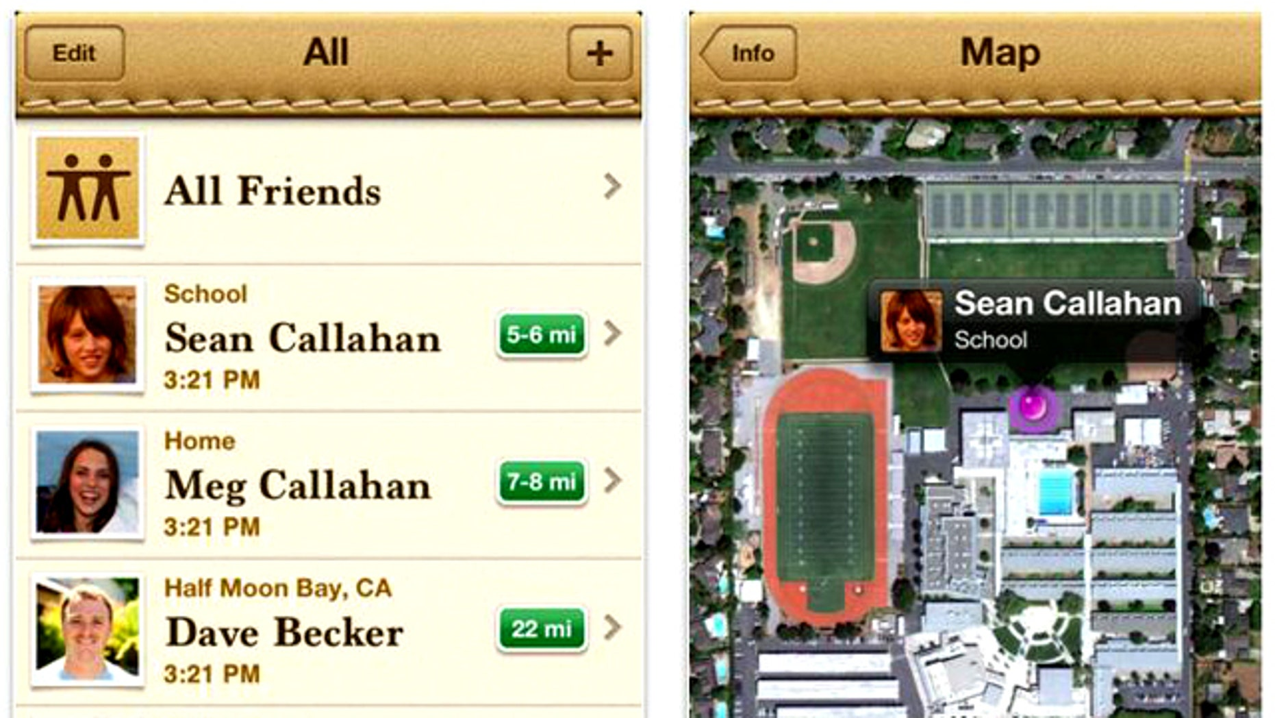 A screenshot of the Find My Friends app from Apple, which helps users to locate friends and family using the built in GPS in their iPhones.