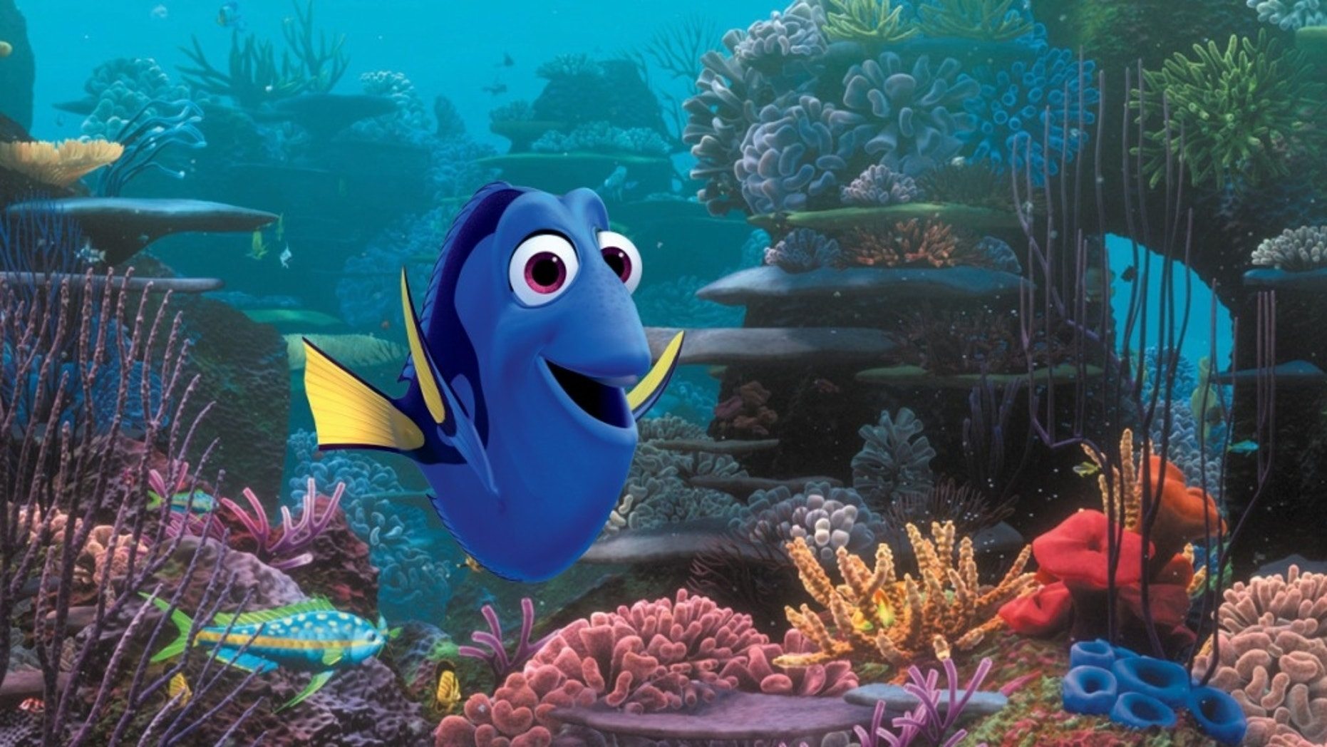 """This film image released by Disney Pixar shows the character Dory, voiced by Ellen DeGeneres. The character, first introduced in """"Finding Nemo,"""" returns for the sequel, """"Finding Dory,"""" set for release on Nov. 25, 2015."""