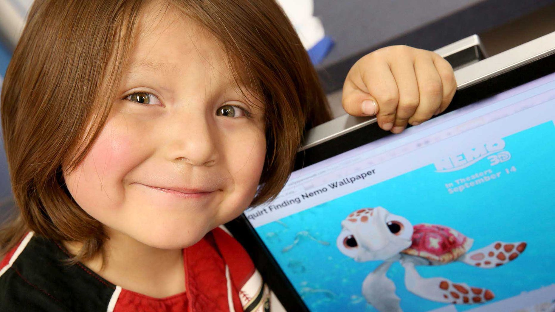 "This Wednesday, March 16, 2016 photo shows Mariano Esquivel, 6, in Flagstaff, Ariz. He recently got a start as a voice actor for the Navajo language version of ""Finding Nemo,"" only the second major motion picture to be translated. Mario lent his voice to several characters but primarily is the voice of Turtle Kid #6. ""Star Wars Episode IV: A New Hope"" became the first Hollywood feature translated in Navajo in 2013. (Jake Bacon/Arizona Daily Sun via AP)"
