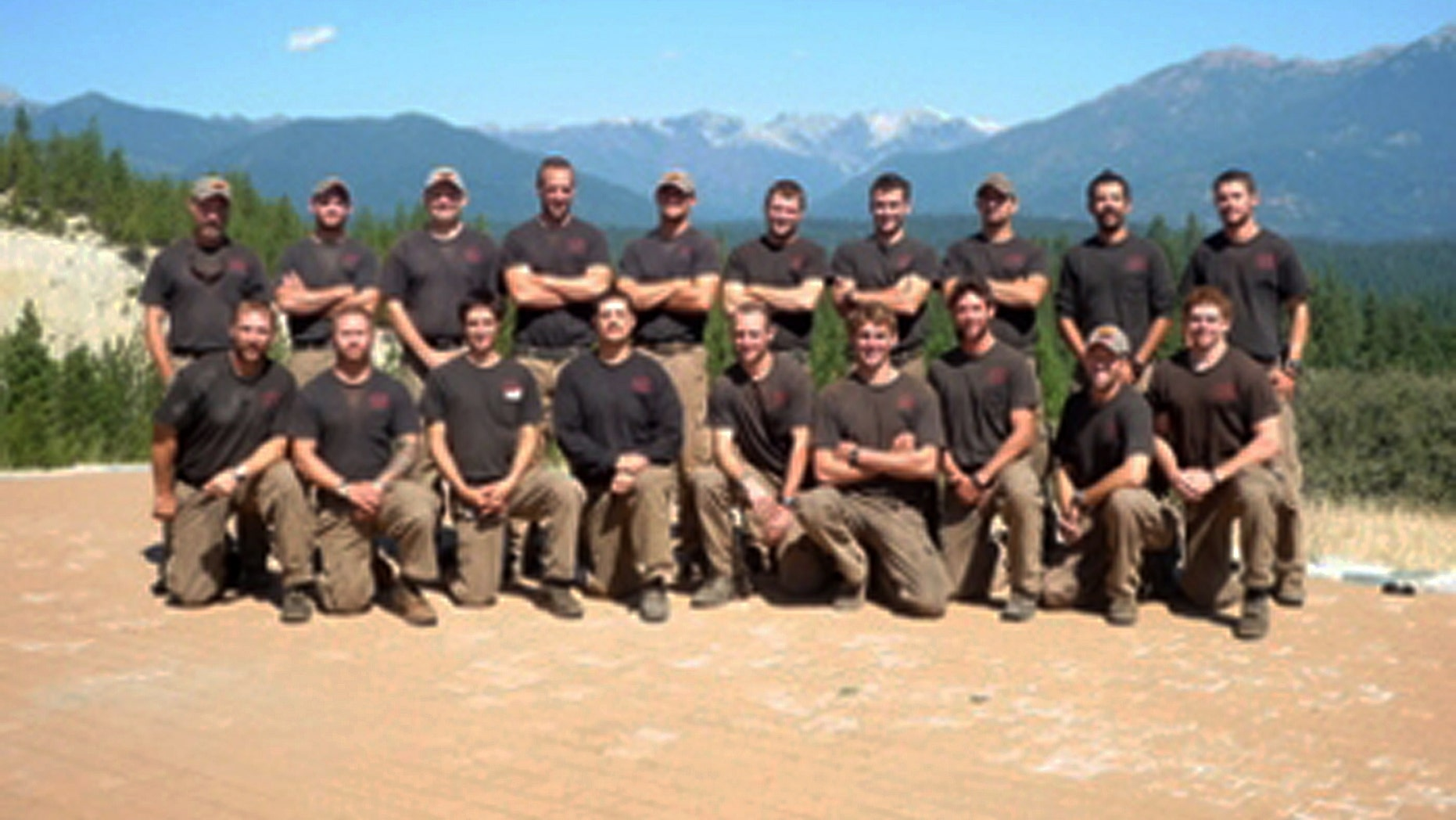 Unidentified members of the Granite Mountain Interagency Hotshot Crew from Prescott, Ariz., pose together in this undated photo provided by the City of Prescott. (AP)