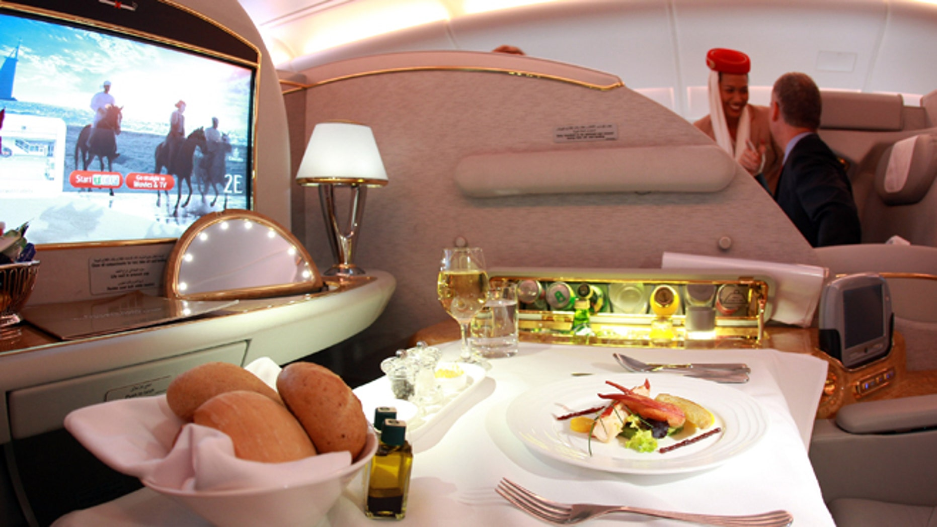 First class seat of Emirates Airbus A380 registration A6-EDP at Munich Airport Franz Joseph Strauss on November 25, 2011 in Munich, Germany. (Photo by Alexander Hassenstein/Getty Images)