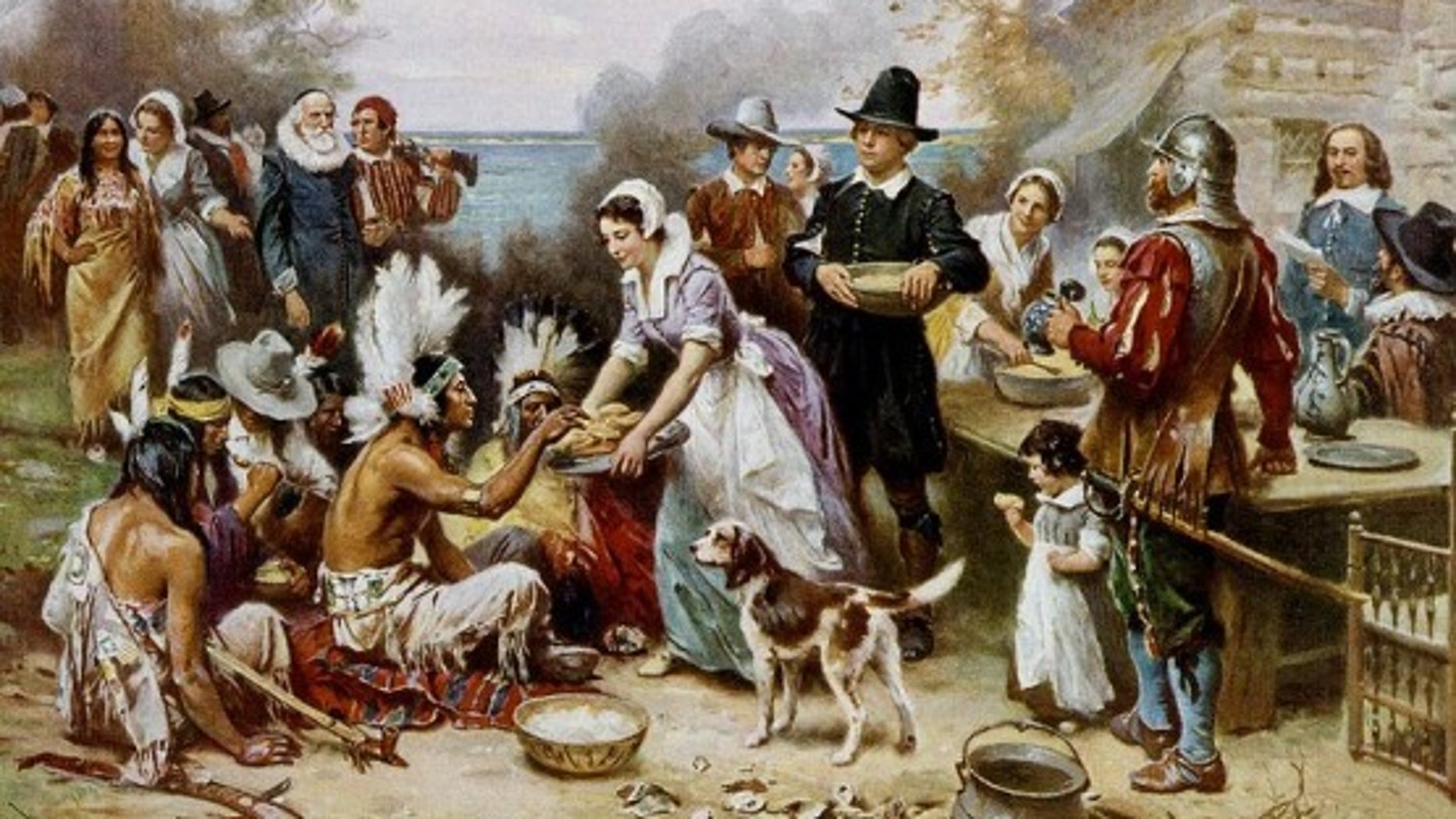 An artistic depiction of the first Thanksgiving feast