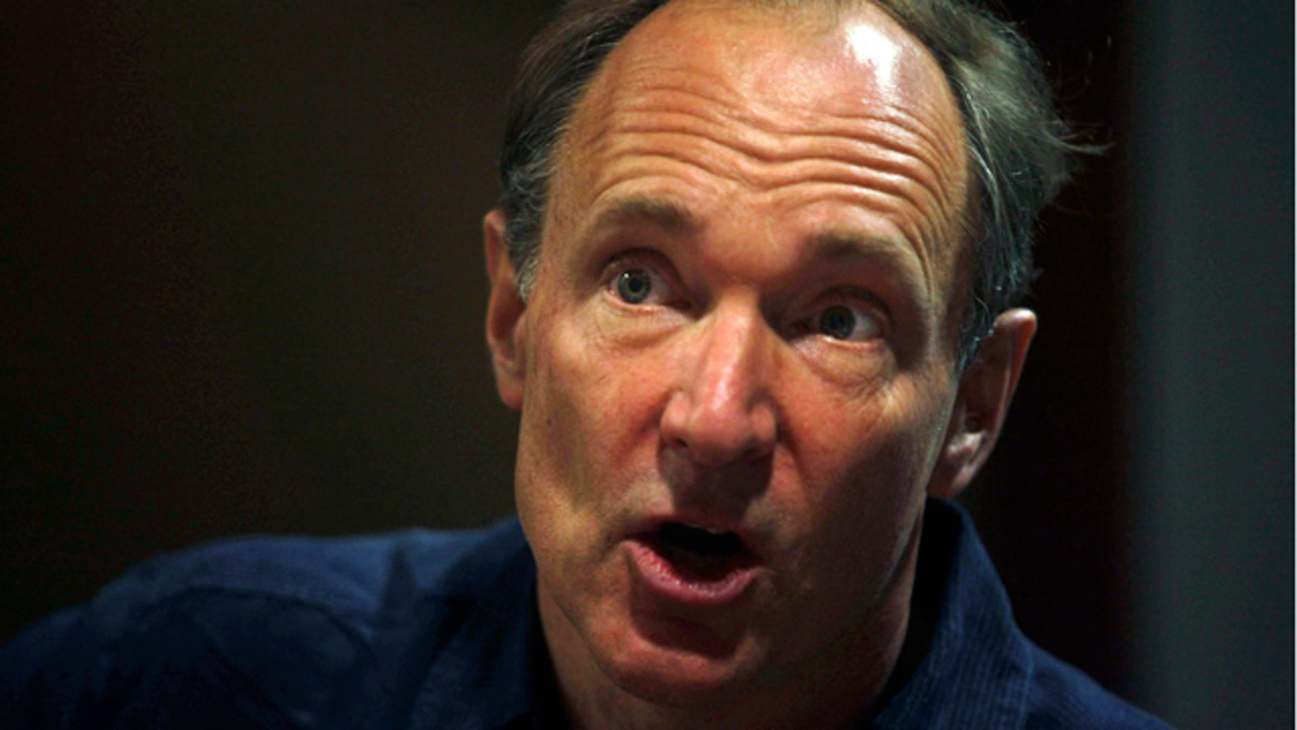 FILE: World Wide Web inventor Tim Berners-Lee addresses the media during the International World Wide Web conference in Hyderabad, India.