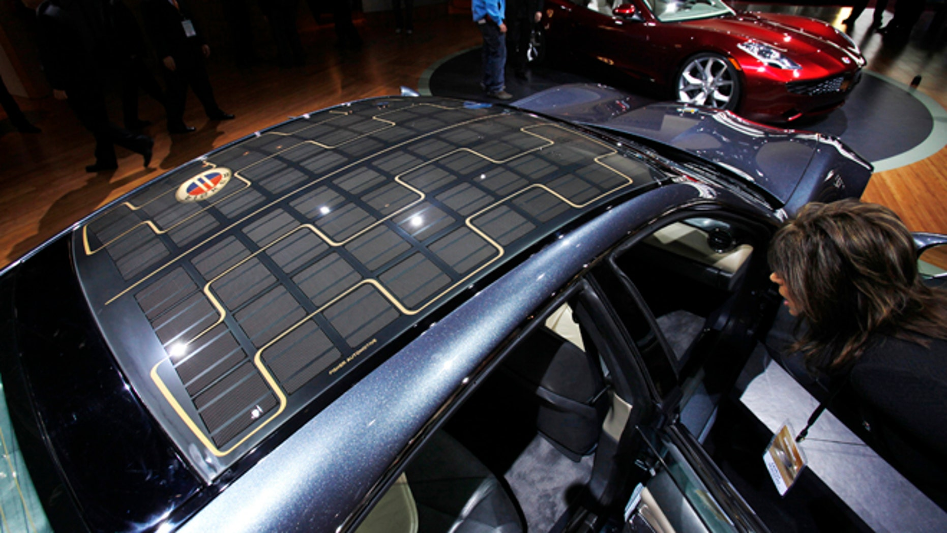 Jan. 13, 2009: A solar roof is seen on a Fisker Karma hybrid electric car during the North American International Auto Show in Detroit, Michigan.