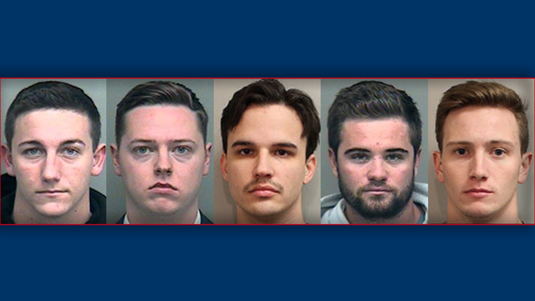 L-R: Kyle Bauer, Brett Birmingham, Christopher Hamlin, Conner Ravelo and John Ray pleaded guilty on Monday in the hazing death of Pi Kappa Phi pledge Andrew Coffey.