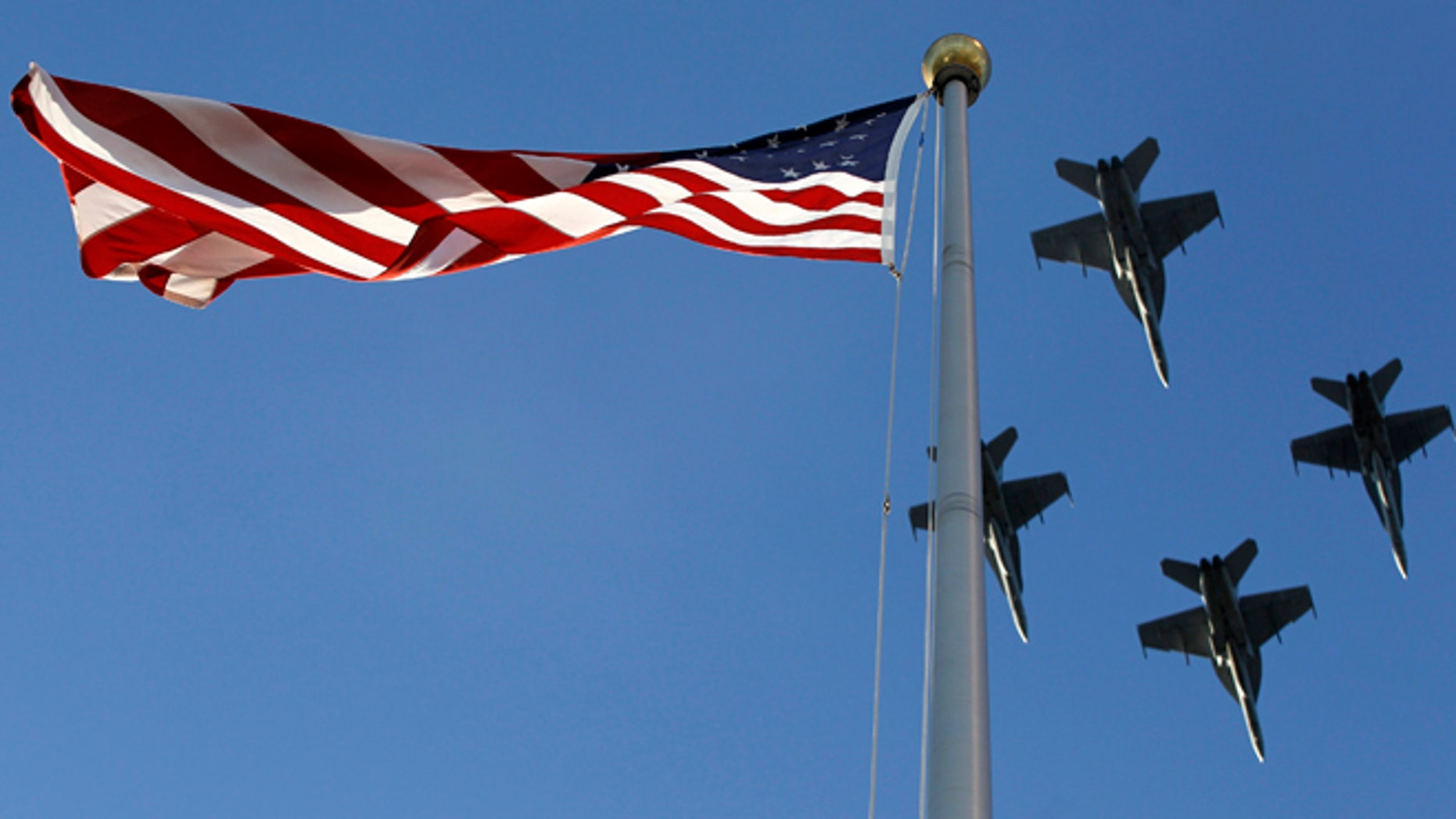 FILE 2012: Under newly passed legislation, the Department of Defense is required to purchase American flags from US companies.