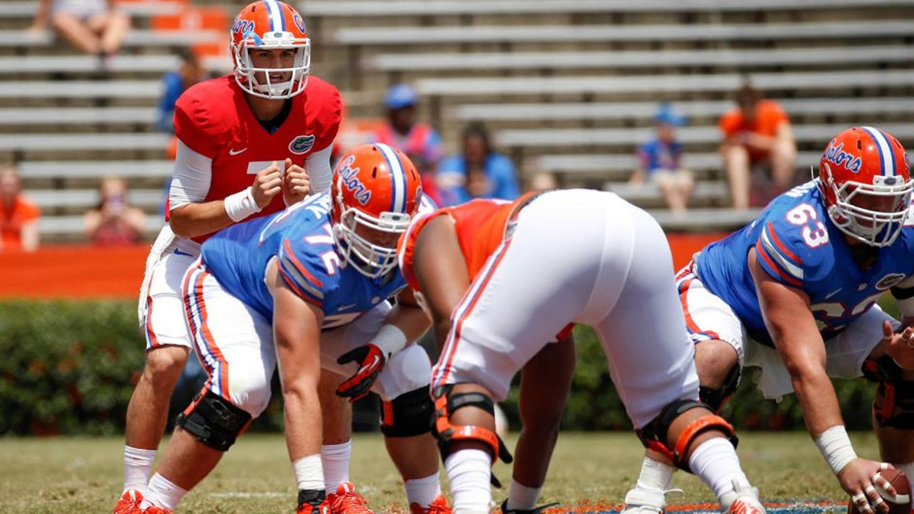 Apr 12, 2014; Gainesville, FL, USA; Florida Gators quarterback Will Grier (7) yells a snap count during the first half of the spring game at Ben Hill Griffin Stadium. Mandatory Credit: Rob Foldy-USA TODAY Sports