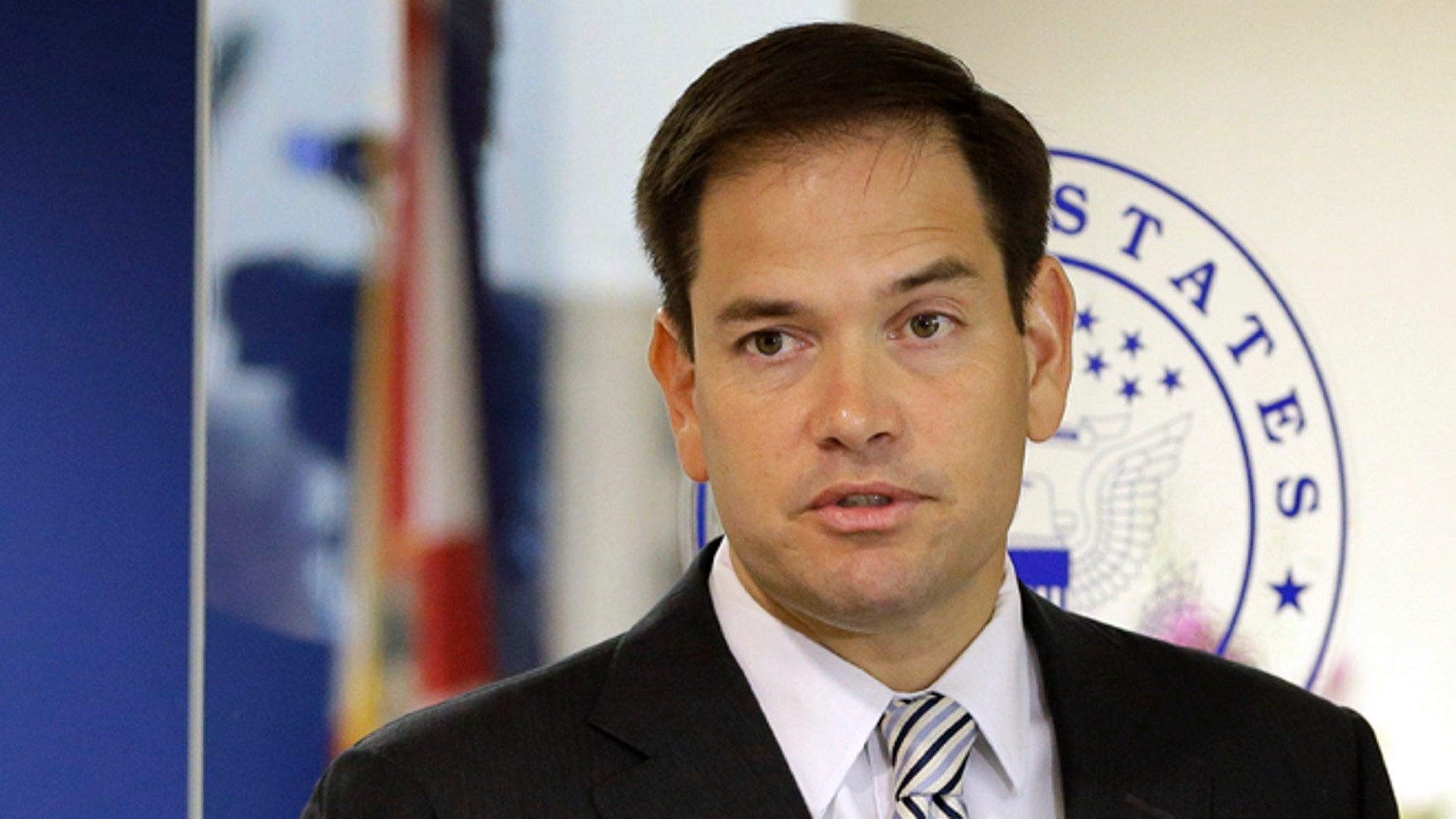 U.S. Sen. Marco Rubio, R-Fla., during news conference, Friday, June 3, 2016, in Doral, Fla.